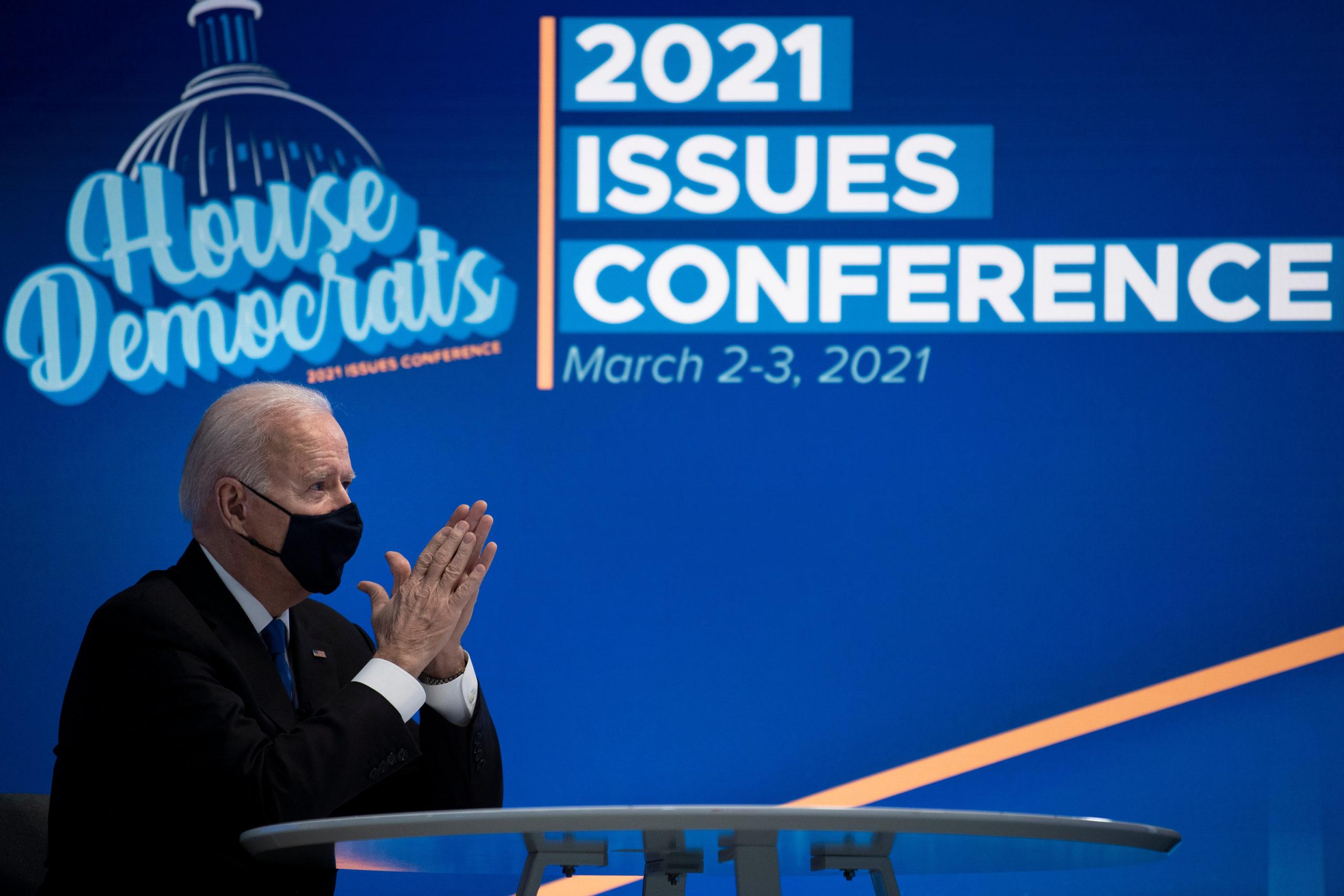 President Joe Biden attends a virtual meeting with House Democrats on Wednesday. (Brendan Smialowski/AFP via Getty Images)