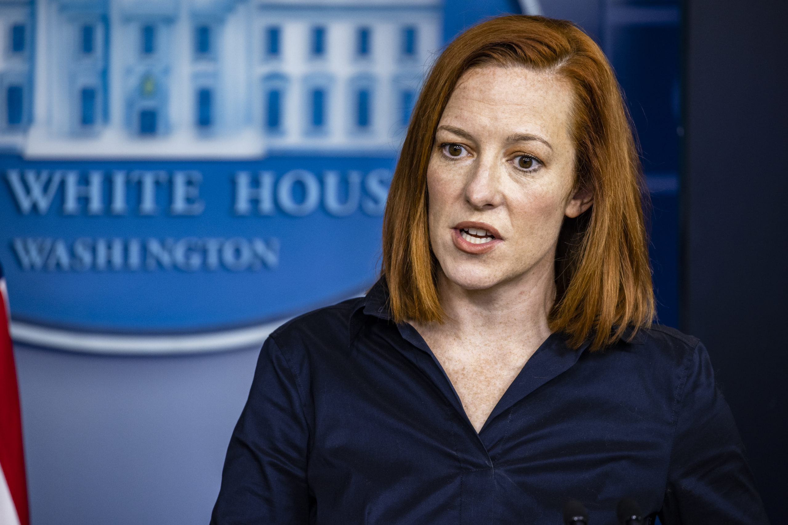 WASHINGTON, DC - MARCH 04: White House Press Secretary Jen Psaki speaks during the daily press briefing in the Brady Press Briefing Room at the White House on March 4, 2021 in Washington, DC. Secretary of Veterans Affairs Denis McDonough also spoke at the briefing. (Photo by Samuel Corum/Getty Images)