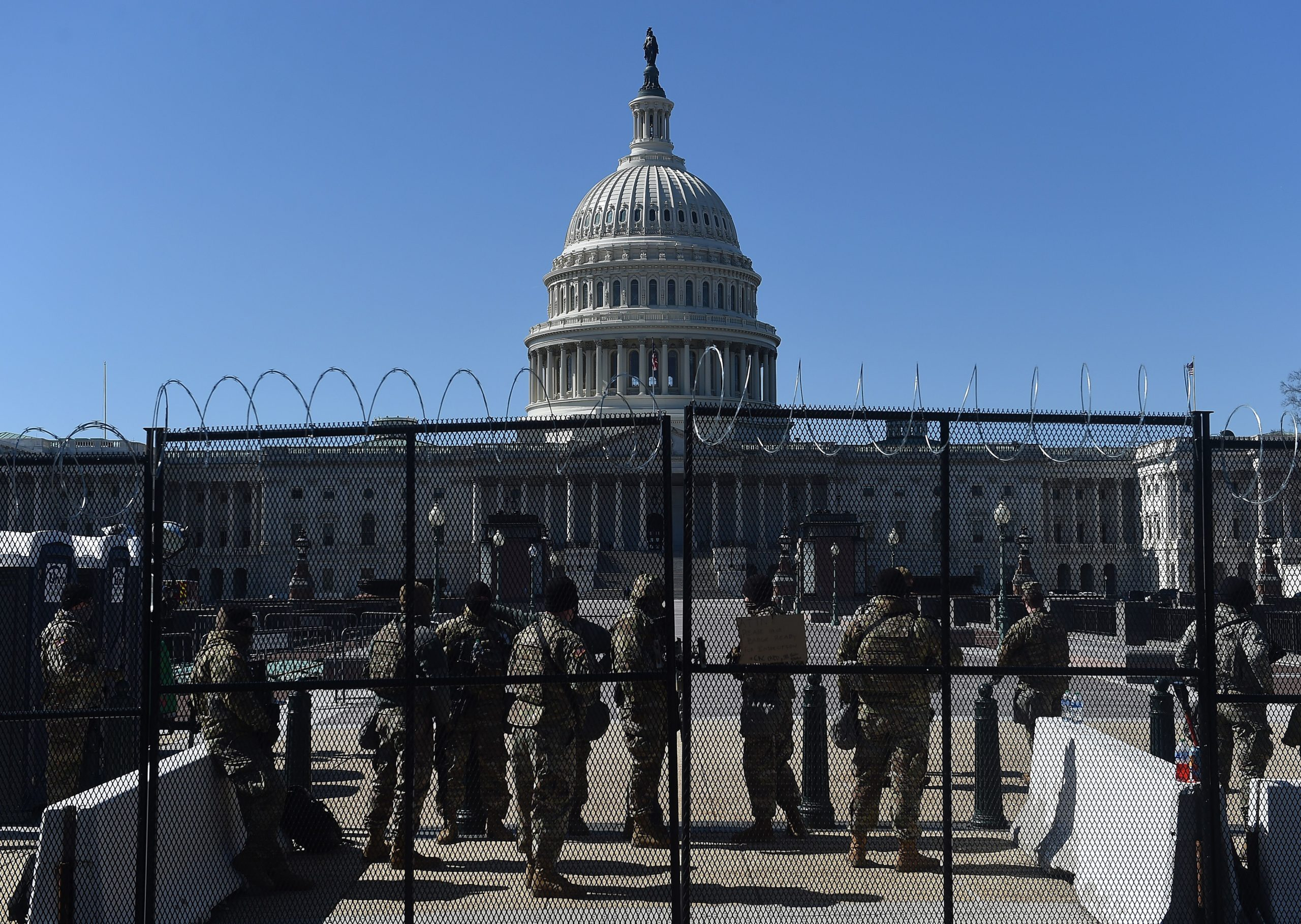 National Guard soldiers patrol outside the Capitol on March 5. (Olivier Douliery/AFP via Getty Images)