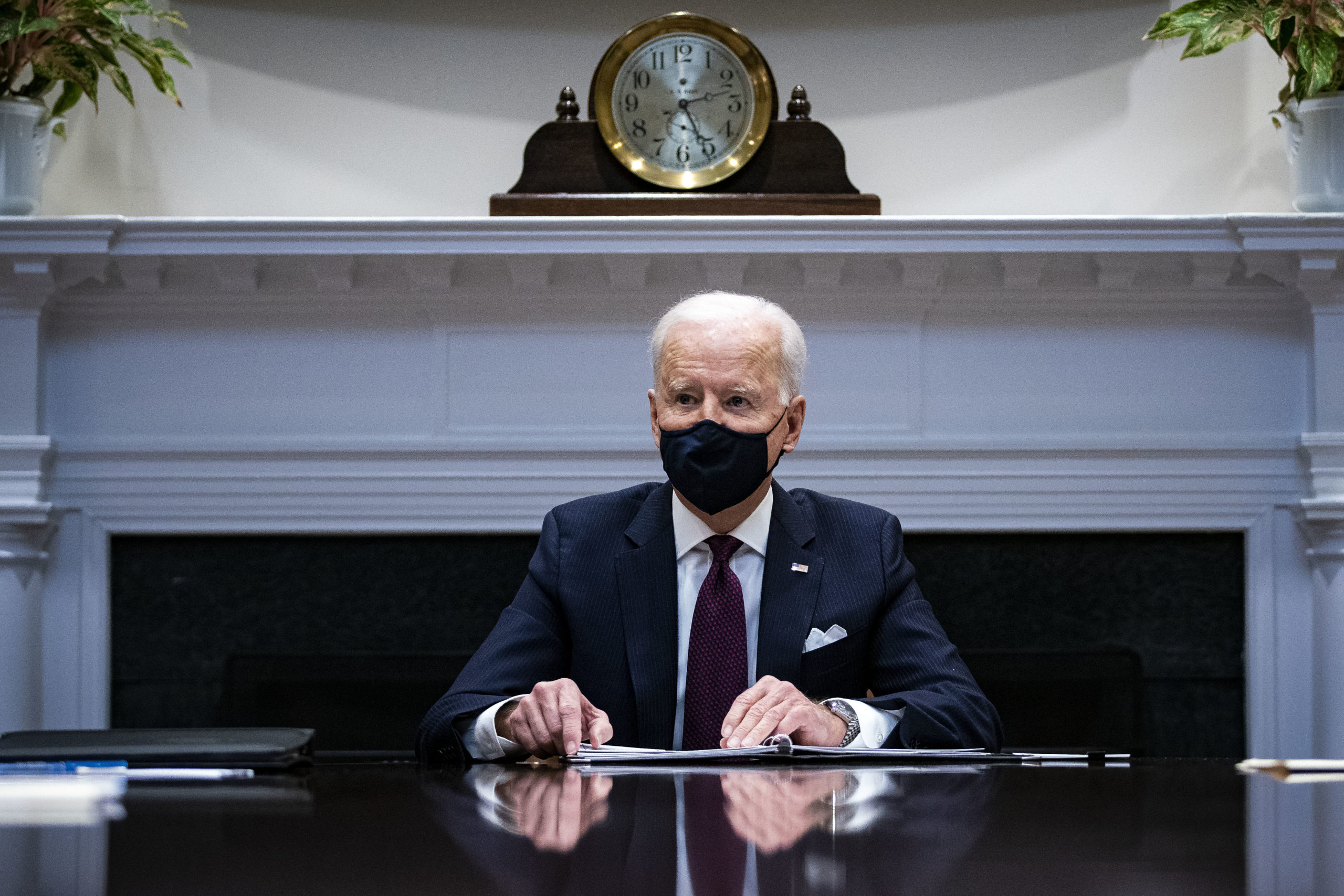 """WASHINGTON, DC - MARCH 05: President Joe Biden speaks during a meeting with Treasury Secretary Janet Yellen and Vice President Kamala Harris in the Roosevelt Room of the White House, March 5, 2021 in Washington, DC. Yellen has recently commented that bitcoin is an """"extremely inefficient"""" way to conduct monetary transactions. (Photo by Al Drago-Pool/Getty Images)"""