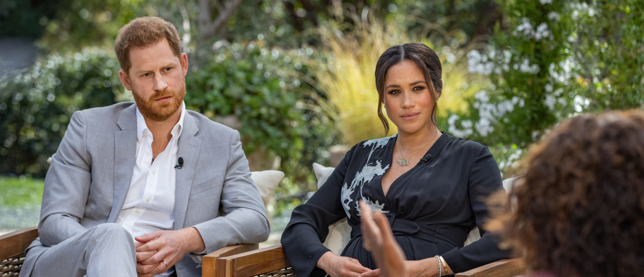 In this handout image provided by Harpo Productions and released on March 5, 2021, Oprah Winfrey interviews Prince Harry and Meghan Markle on A CBS Primetime Special premiering on CBS on March 7, 2021. (Photo by Harpo Productions/Joe Pugliese via Getty Images)