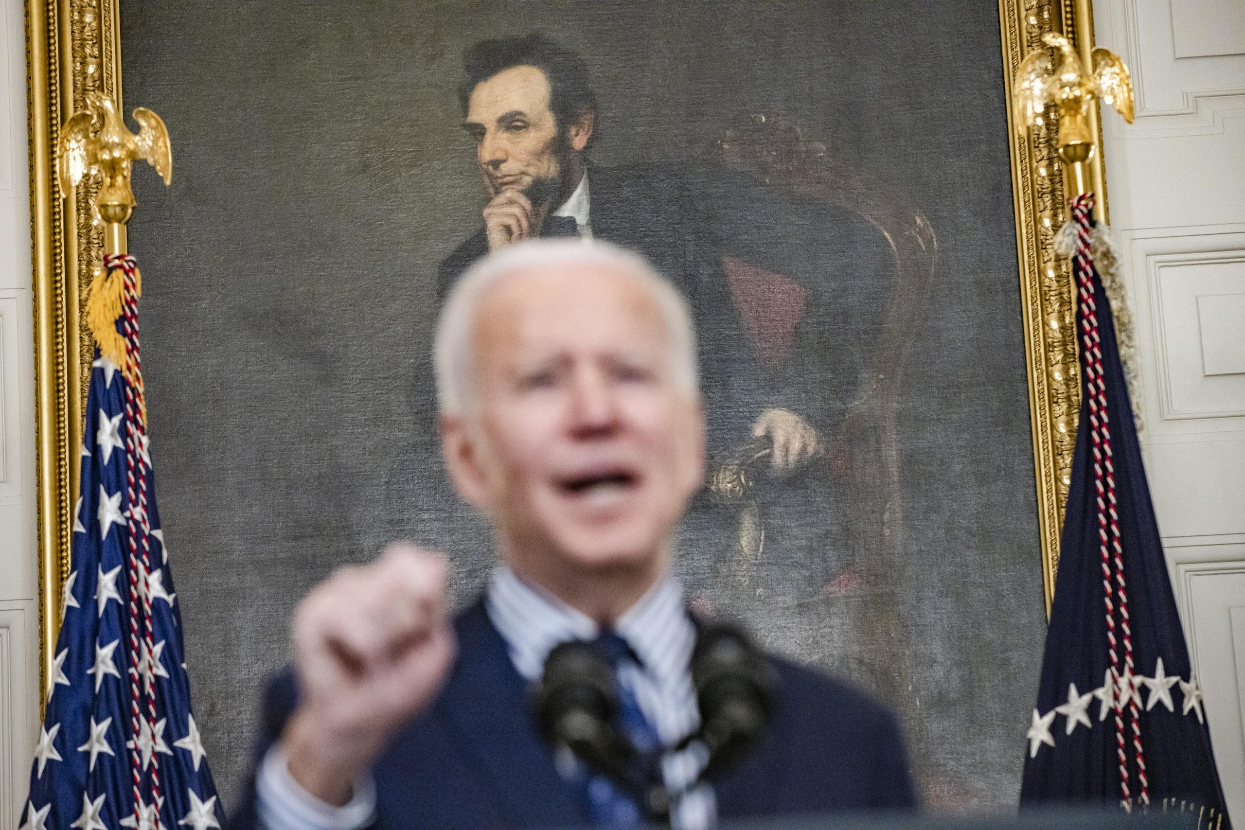 President Joe Biden speaks following the passage of the American Rescue Plan on Saturday. (Samuel Corum/Getty Images)