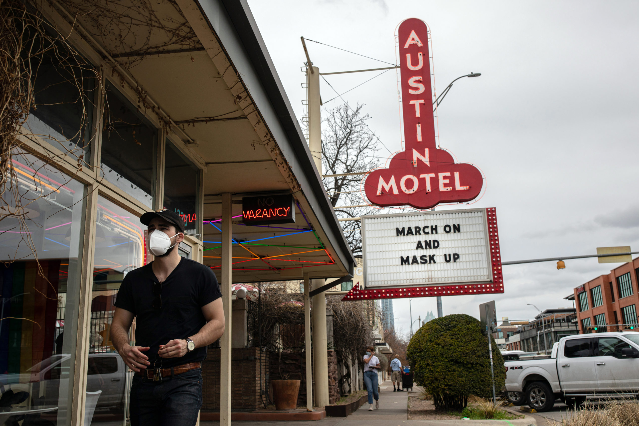 AUSTIN, TX - MARCH 10: The Austin Motel displays a message on their marquee encouraging people to wear masks on March 10, 2021 in Austin, Texas. The City of Austin said it will continue to maintain its mask rules despite an executive order from Gov. Greg Abbott, which took effect Wednesday, that lifted the statewide mask mandate and allowed businesses to fully reopen. (Photo by Tamir Kalifa/Getty Images)
