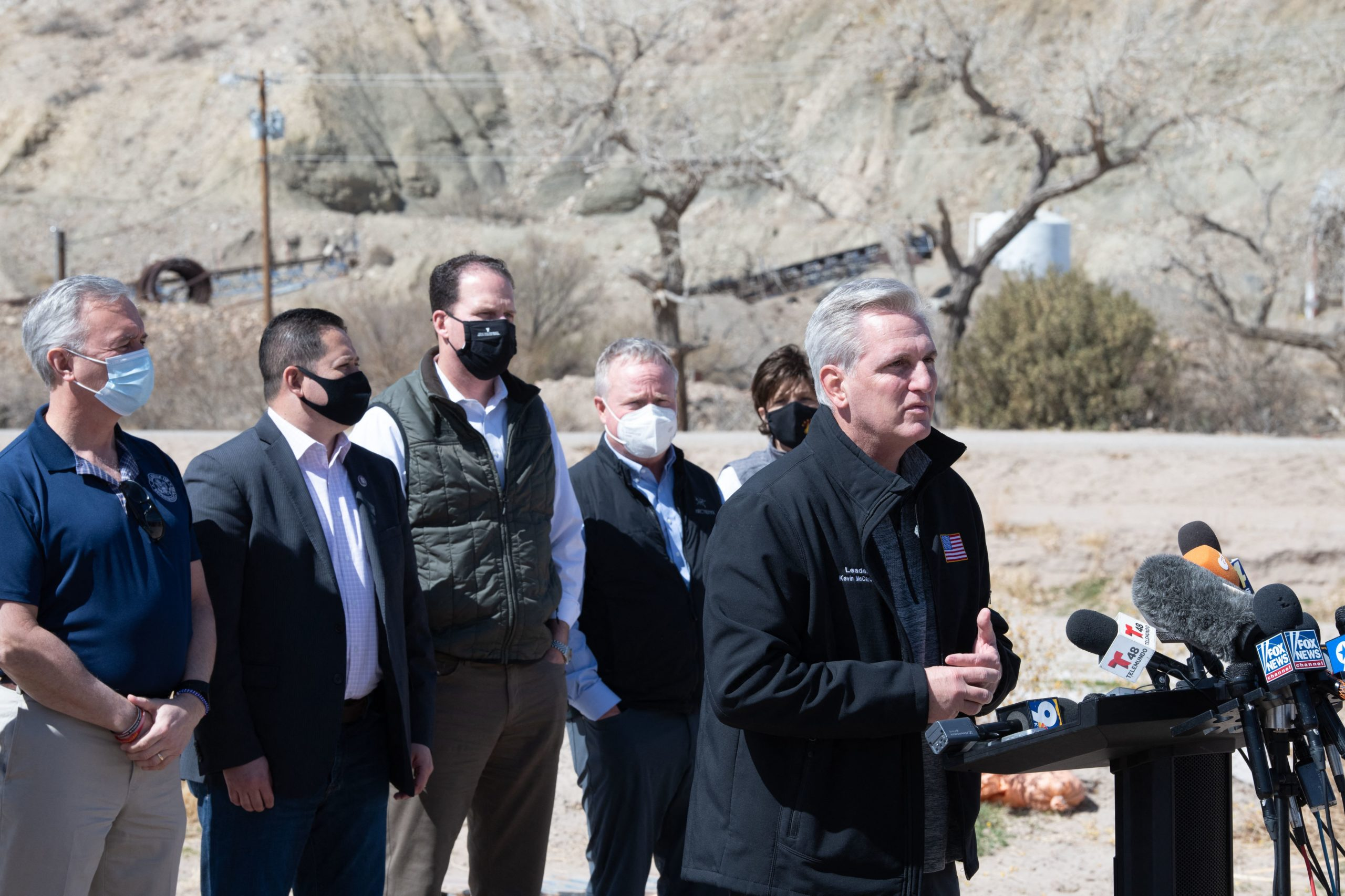 House Minority Leader Kevin McCarthy addresses the press during the congressional border delegation visit to El Paso, Texas on March 15, 2021. (JUSTIN HAMEL/AFP via Getty Images)