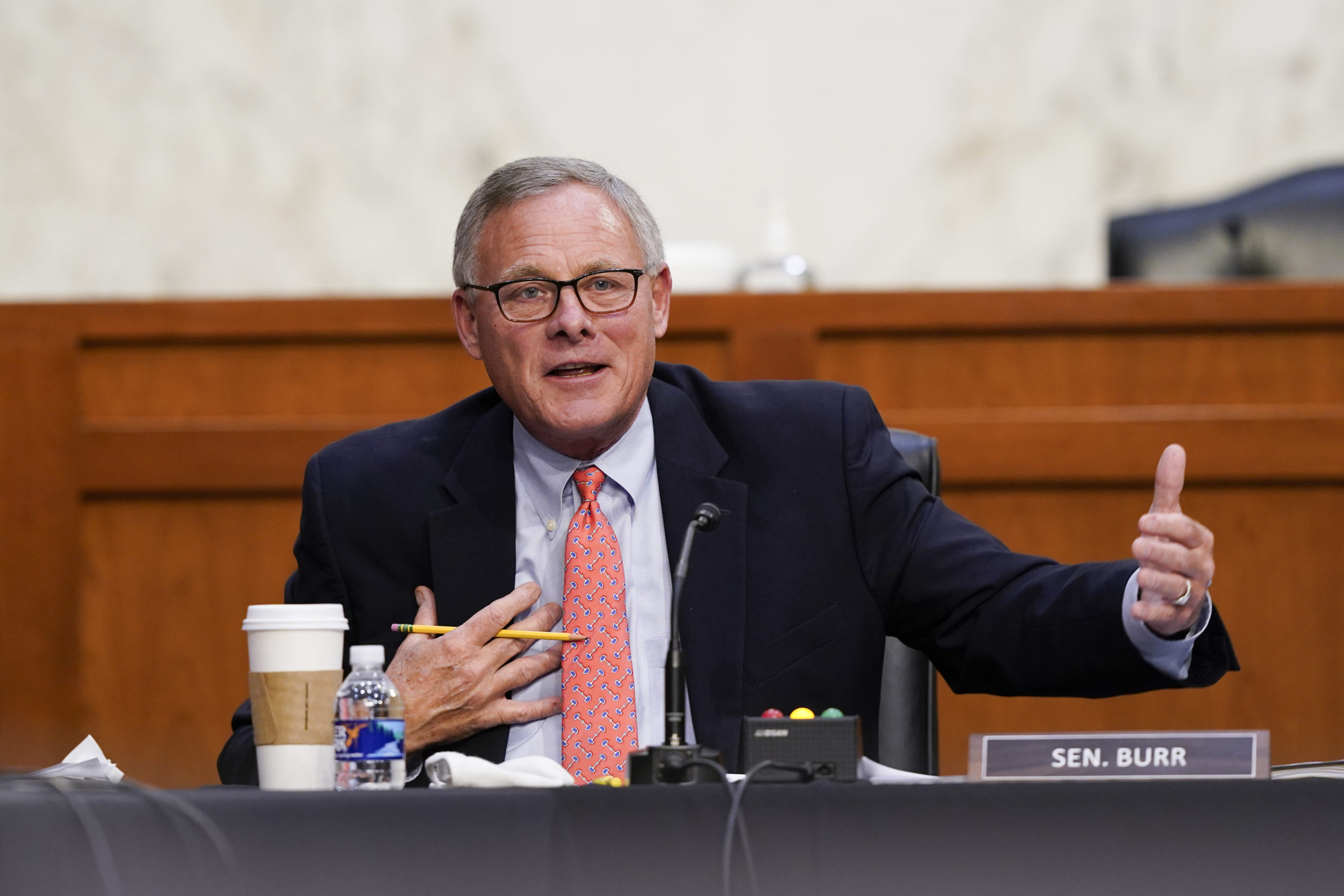 Ranking Member Richard Burr speaks during a Senate Health, Education, Labor and Pensions Committee hearing on Thursday in Washington, D.C. (Susan Walsh/Pool/Getty Images)