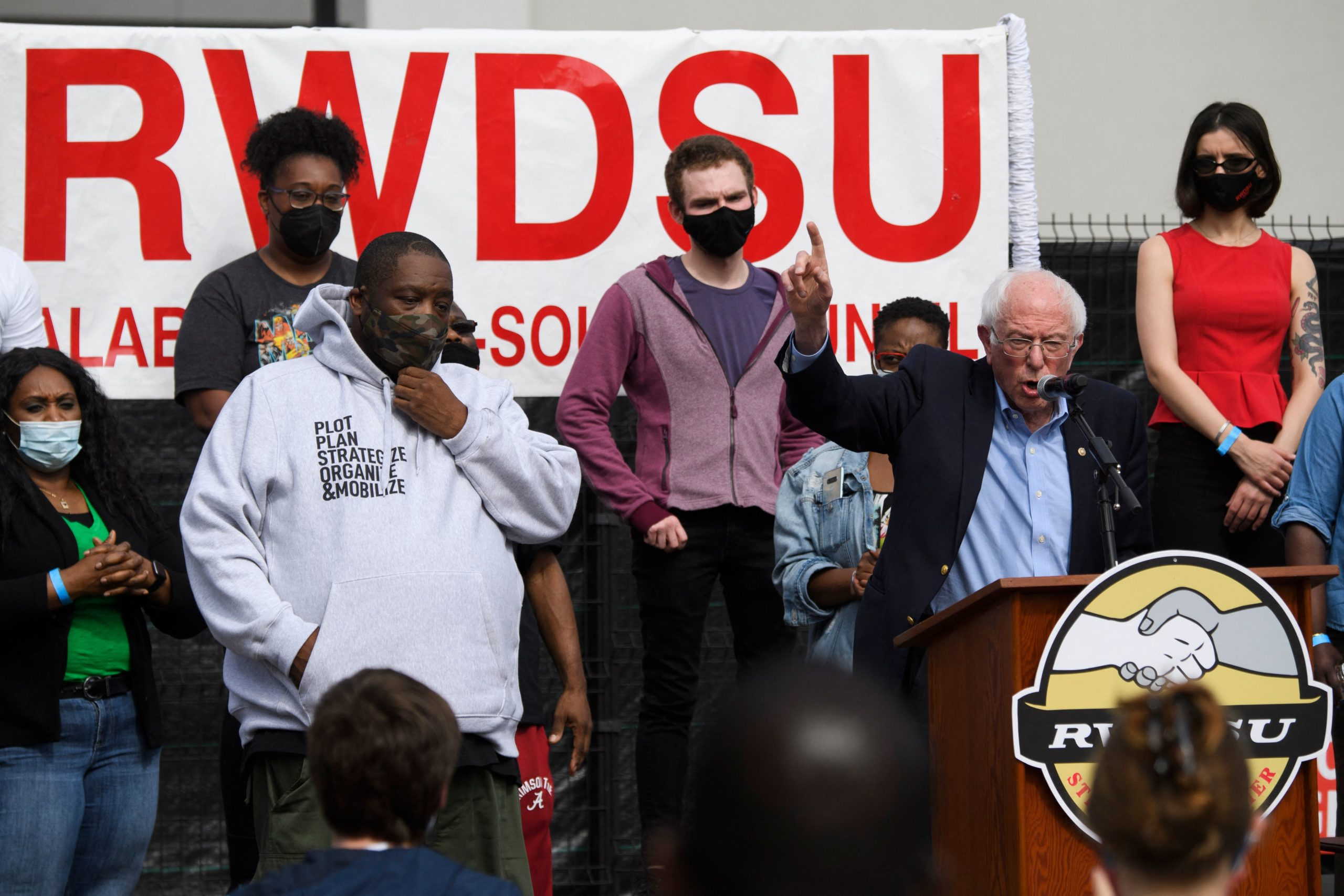 """Democratic Vermont Sen. Bernie Sanders and Rapper Michael """"Killer Mike"""" Render speak in support of the unionization effort in Alabama on March 26. (Patrick T. Fallon/AFP via Getty Images)"""