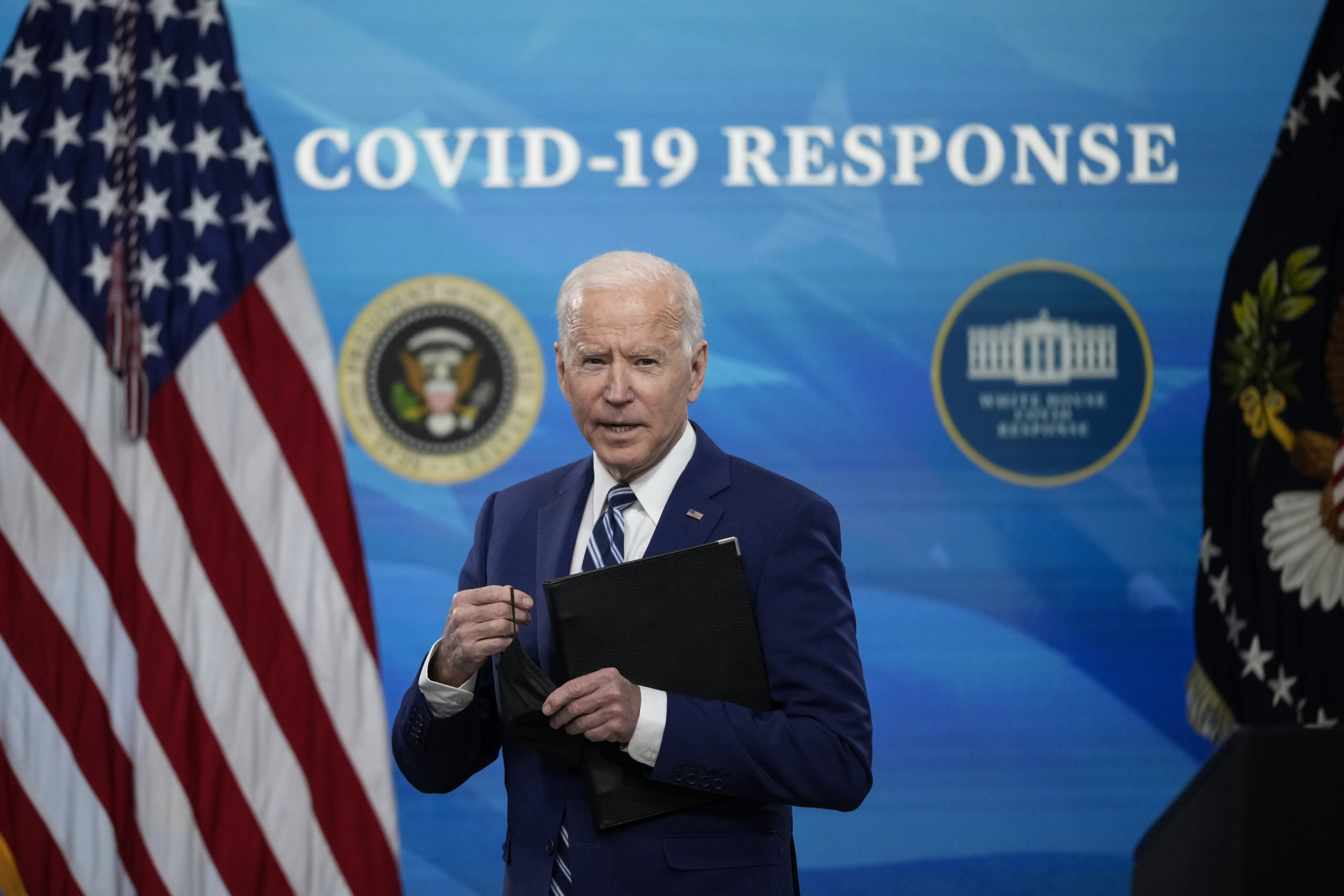 WASHINGTON, DC - MARCH 29: U.S. President Joe Biden responds to a question after delivering remarks on the COVID-19 response and the state of vaccinations in the South Court Auditorium at the White House complex on March 29, 2021 in Washington, DC. President Biden announced Monday that 90% of Americans will have a vaccination site within five miles of their homes by April 19. (Photo by Drew Angerer/Getty Images)