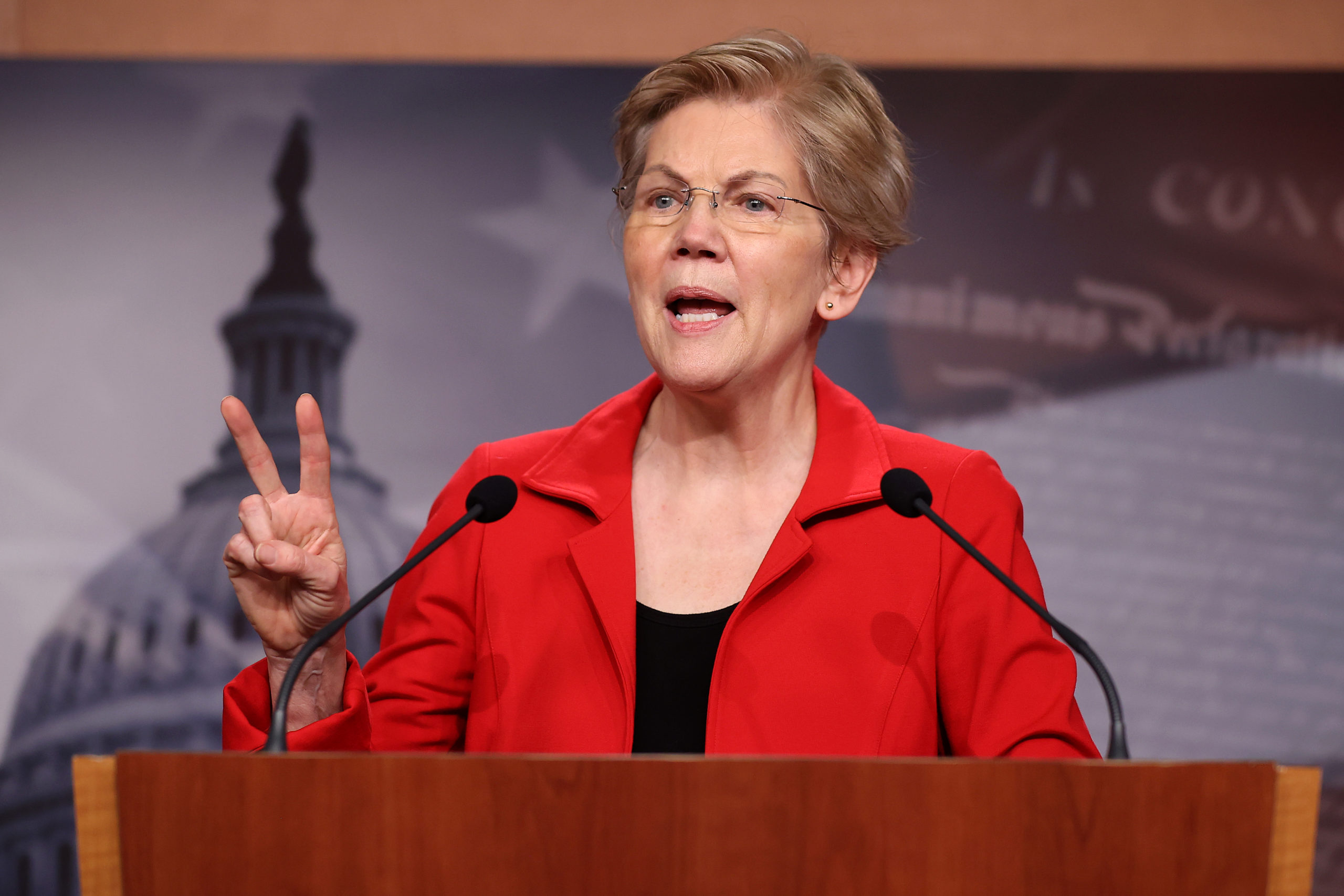 Sen. Elizabeth Warren holds a news conference to announce legislation that would tax the net worth of America's wealthiest individuals on March 1. (Chip Somodevilla/Getty Images)