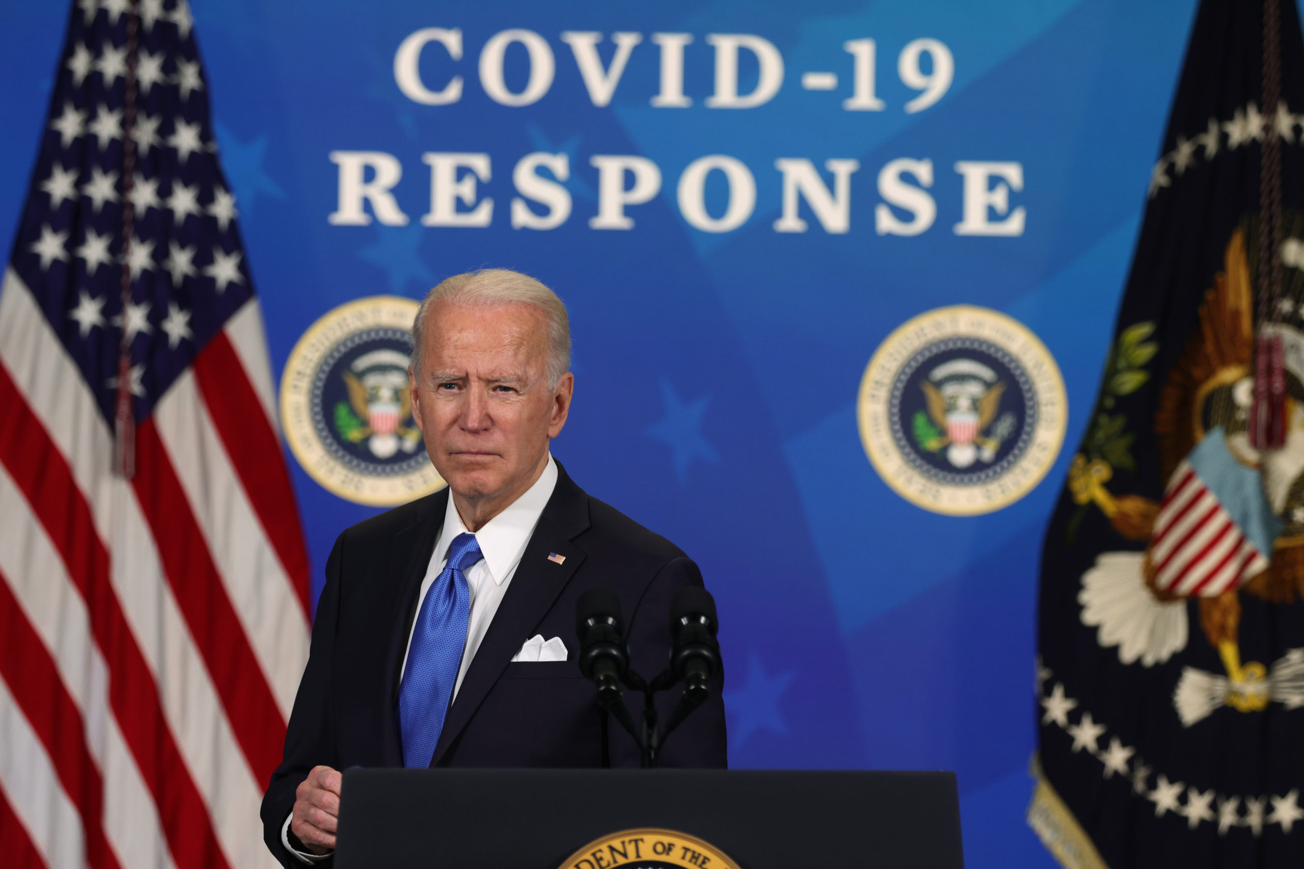 WASHINGTON, DC - MARCH 10: U.S. President Joe Biden speaks during an event with the CEOs of Johnson & Johnson and Merck at the South Court Auditorium of the Eisenhower Executive Office Building March 10, 2021 in Washington, DC. President Biden announced that the government will purchase 100 million more doses of the Johnson & Johnson COVID-19 vaccine. (Photo by Alex Wong/Getty Images)