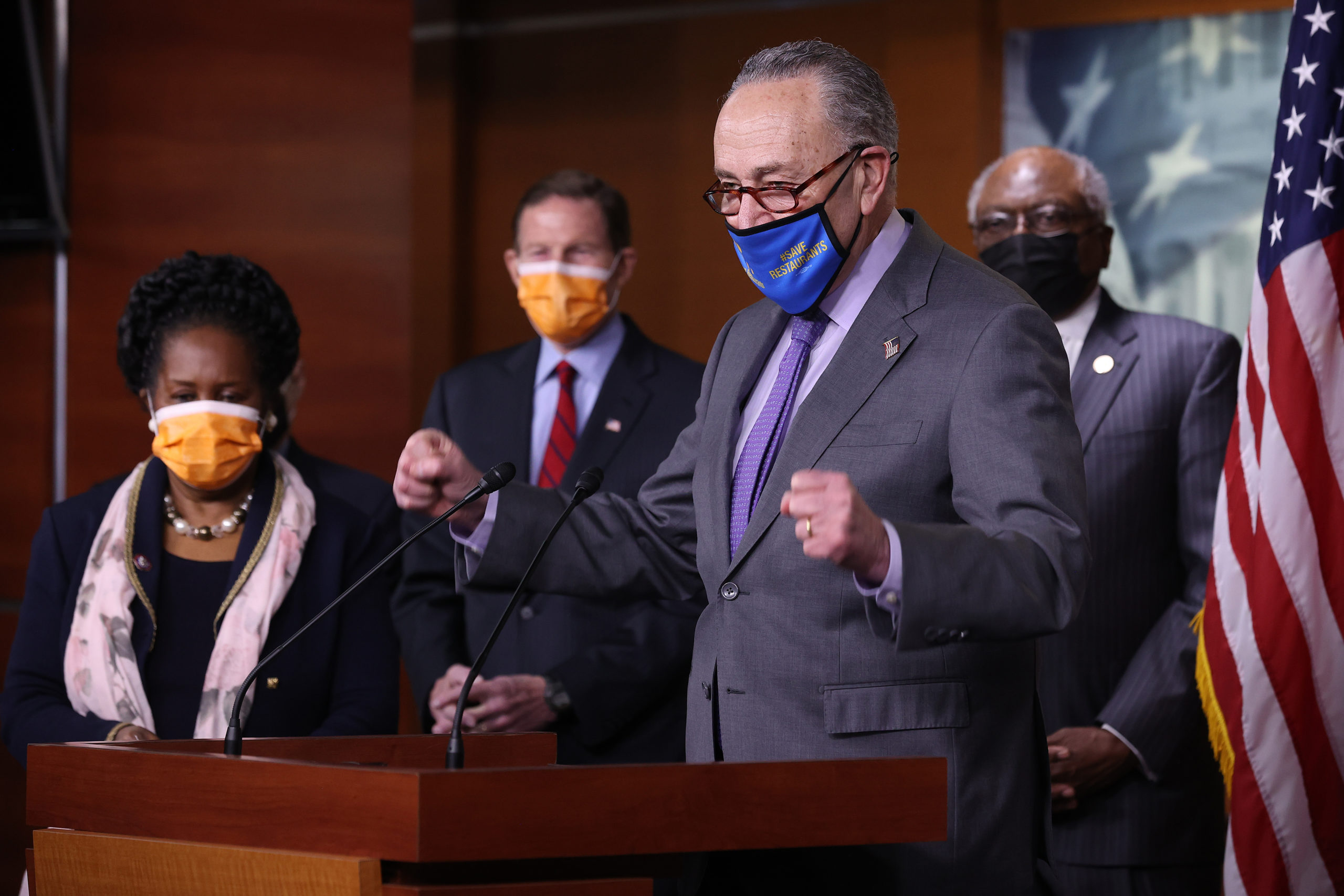 Democrats speak to the media after the House passed a massive coronavirus stimulus package one day earlier. (Chip Somodevilla/Getty Images)