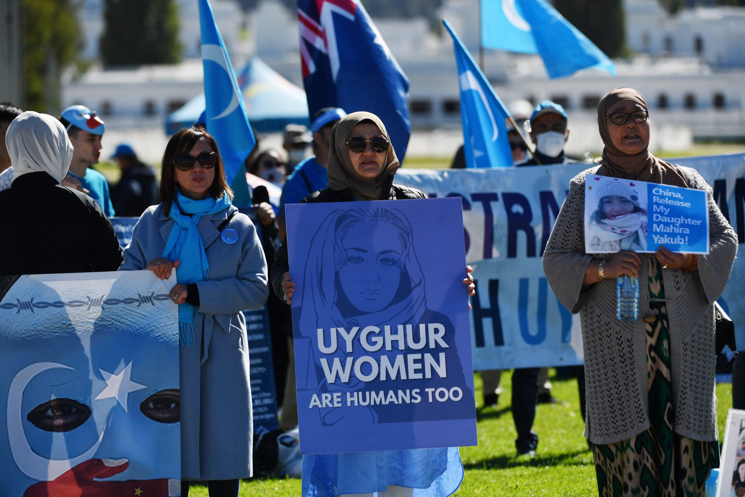 Protestors attend a rally for the Uyghur community on March 15 in Australia. (Sam Mooy/Getty Images)