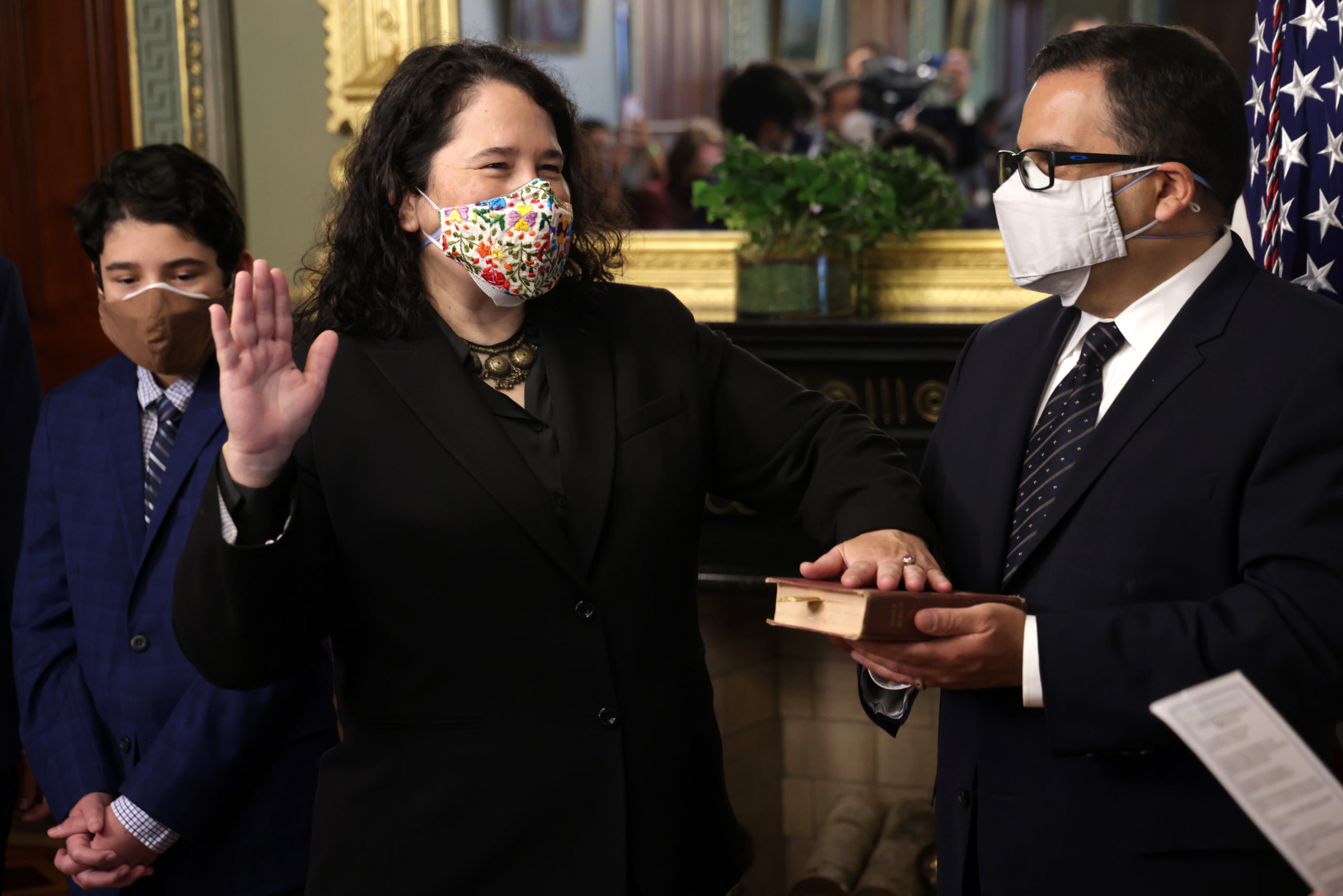 Isabella Casillas Guzman is sworn in as administrator of the Small Business Administration on Monday. (Alex Wong/Getty Images)