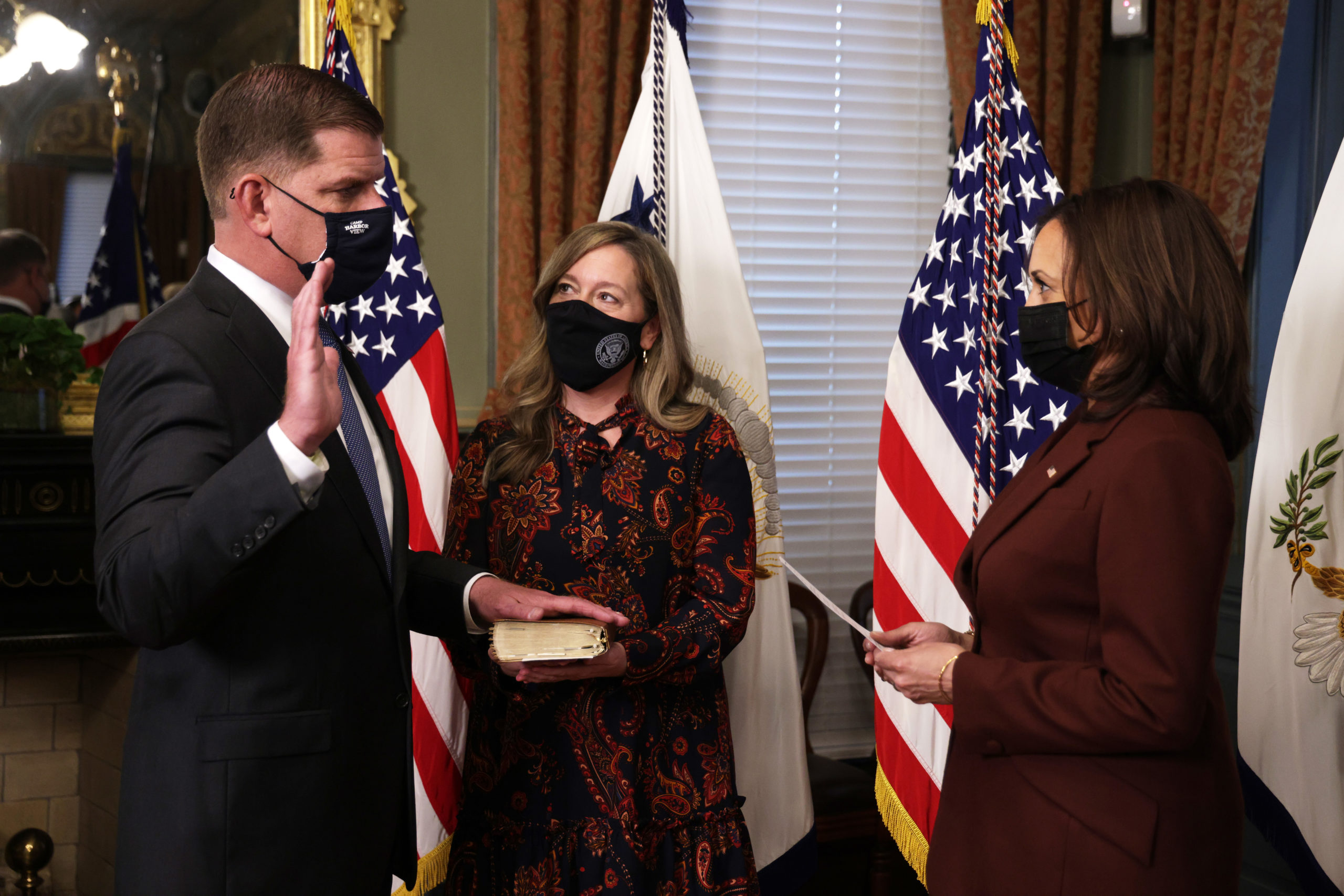 Marty Walsh is sworn in as secretary of labor by Vice President Kamala Harris on March 23. (Alex Wong/Getty Images)