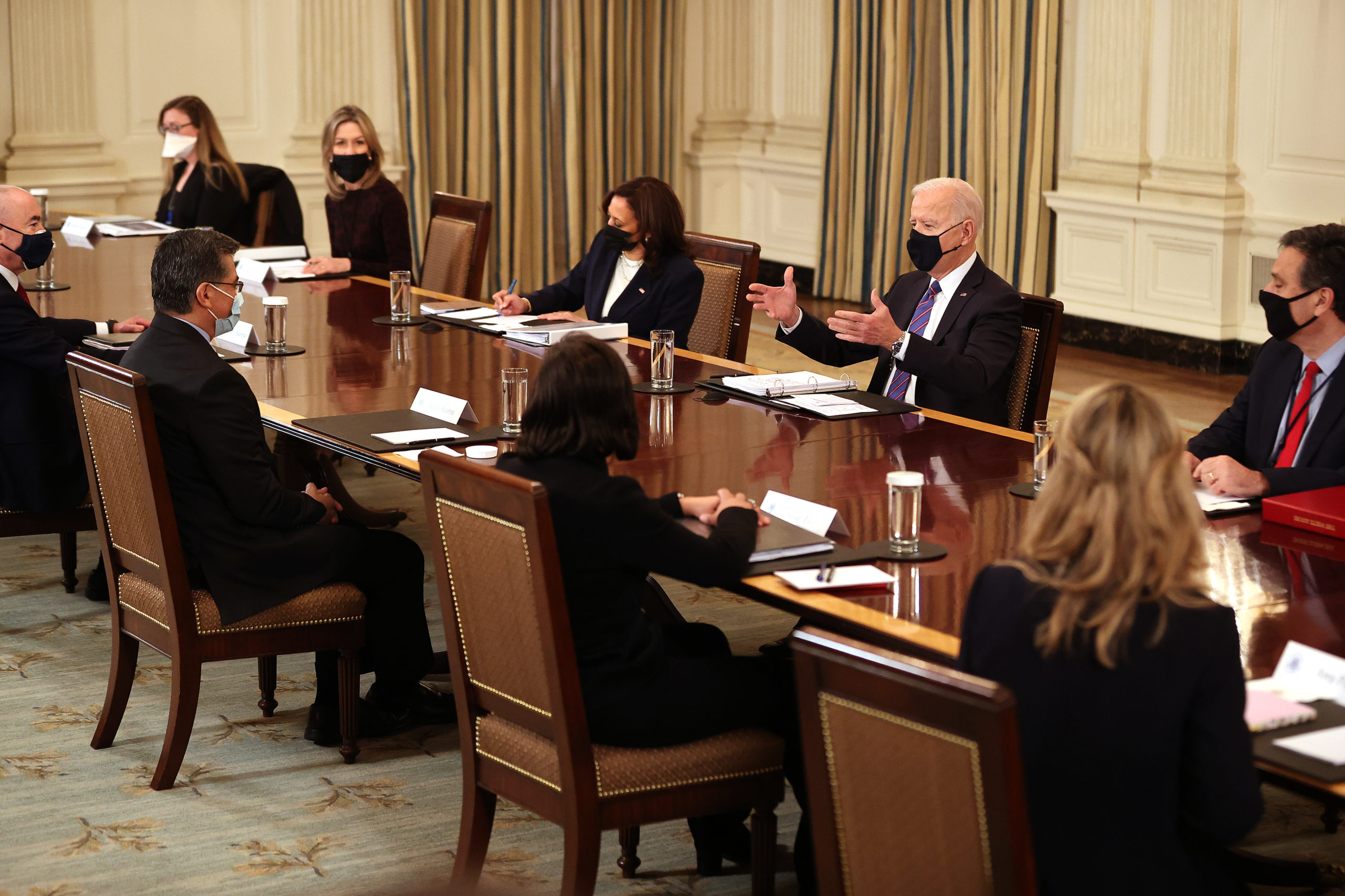 President Joe Biden and Vice President Kamala Harris meet with members of the administration's cabinet on Wednesday. (Chip Somodevilla/Getty Images)