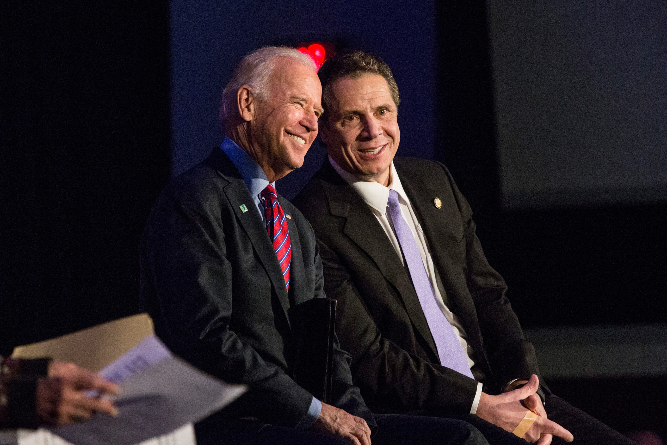 Joe Biden (L) and Andrew Cuomo attend a rally for paid family leave on January 29, 2016 in New York City. (Andrew Burton/Getty Images)