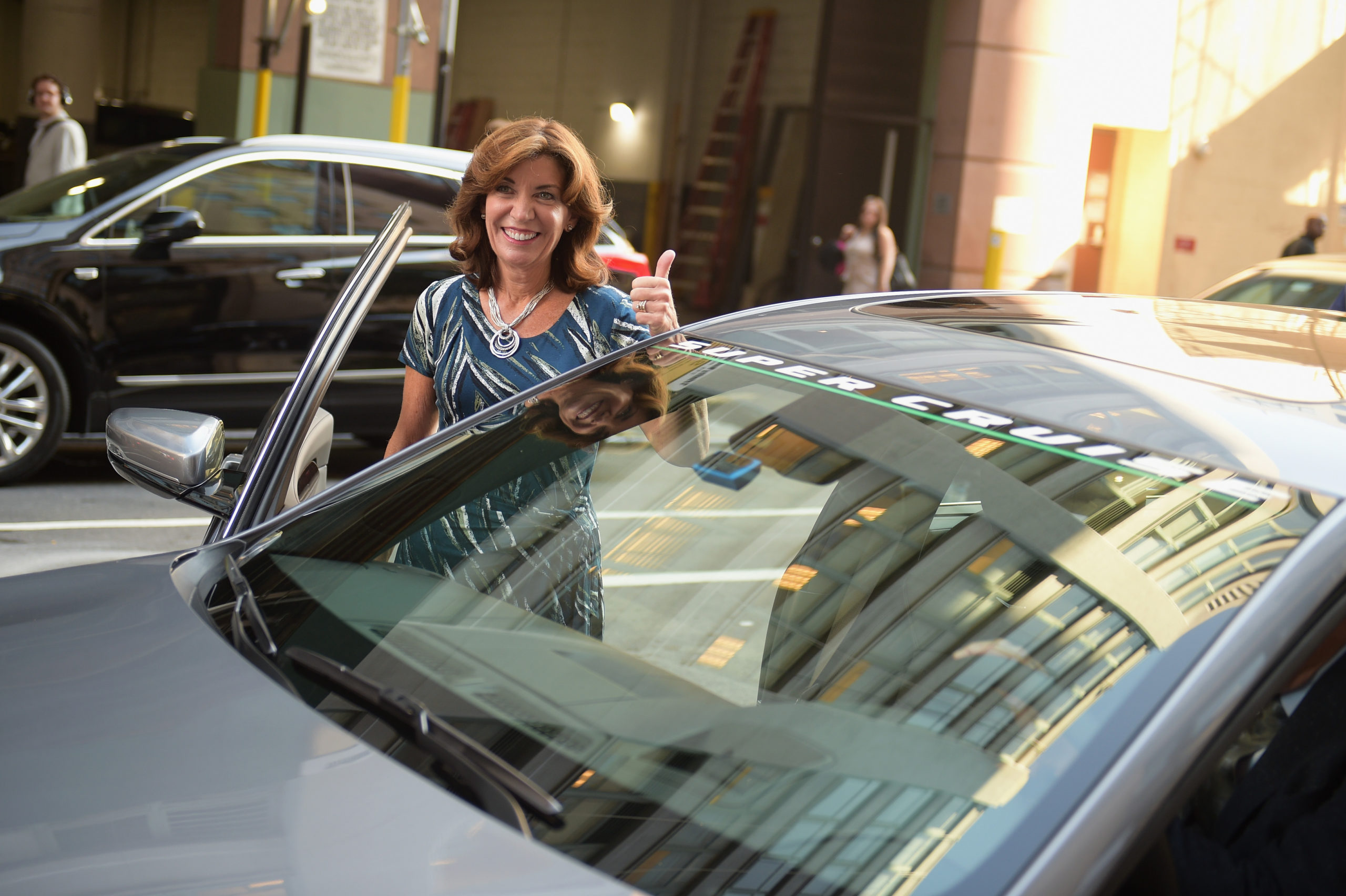 Lieutenant Governor Kathy Hochul of New York and Cadillac kick off first-ever hands-free drive on freeways from coast to coast with Cadillac Super Cruise at Cadillac House, NYC. (Jason Kempin/Getty Images for Cadillac)