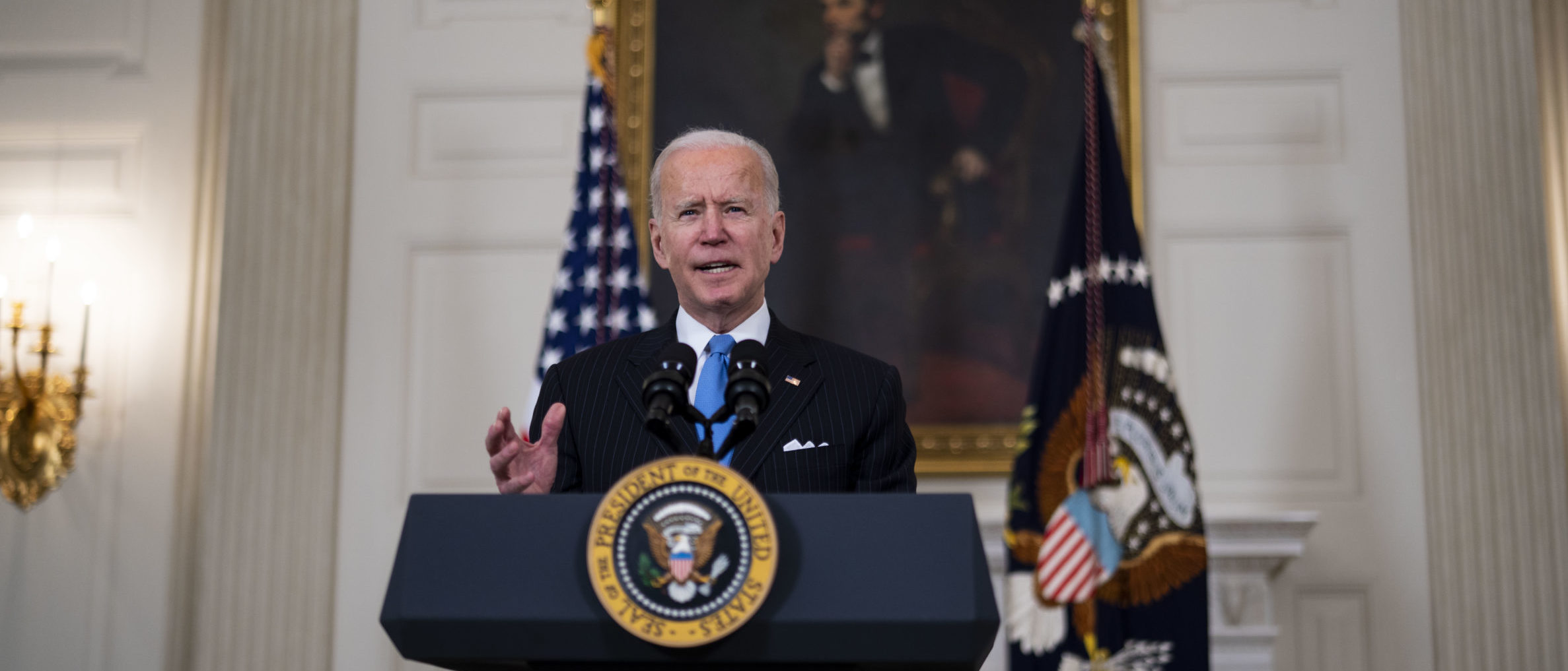 WASHINGTON, DC - MARCH 2: U.S. President Joe Biden speaks in the State Dining Room of the White House on March 2, 2021 in Washington, DC. President Biden spoke about the recently announced partnership between Johnson & Johnson and Merck to produce more J&J COVID-19 vaccine. (Photo by Doug Mills-Pool/Getty Images)