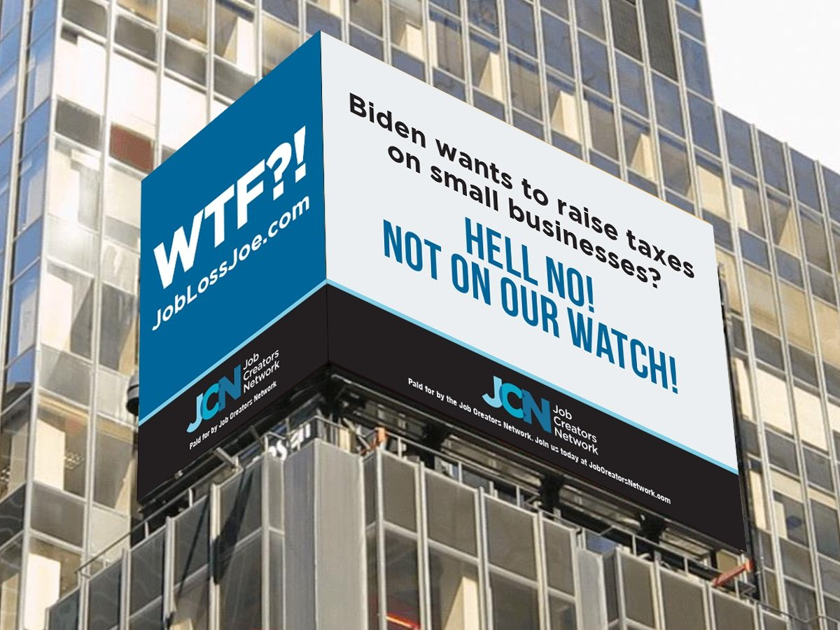 The Job Creators Network billboard is pictured in Times Square, New York City, on Monday. (Job Creators Network)