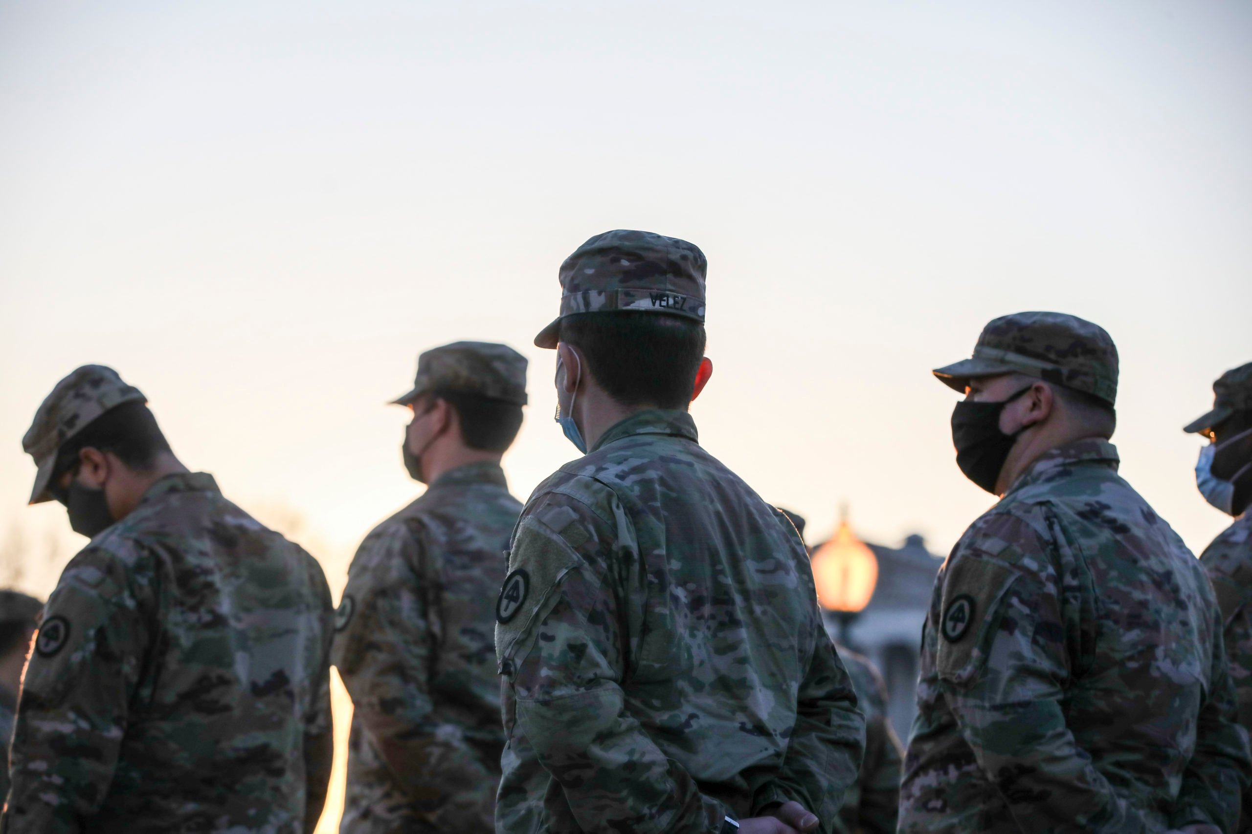 WASHINGTON, DC - JANUARY 12: Members of the U.S. National Guard arrive at the U.S. Capitol on January 12, 2021 in Washington, DC. The Pentagon is deploying as many as 15,000 National Guard troops to protect President-elect Joe Biden's inauguration on January 20, amid fears of new violence. (Photo by Tasos Katopodis/Getty Images)