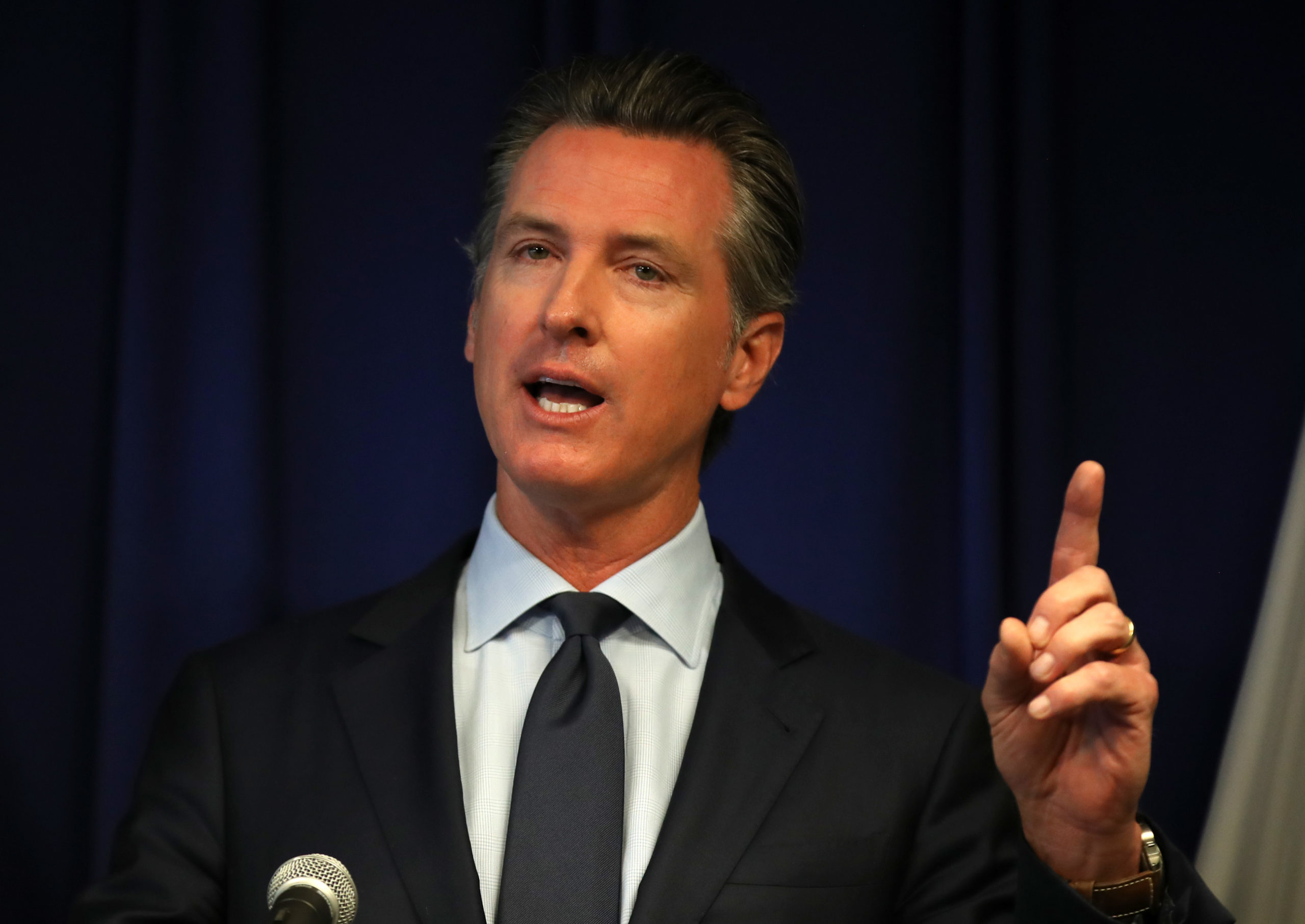 California Gov. Gavin Newsom speaks during a news conference at the California justice department on September 18, 2019 in Sacramento, California. (Photo by Justin Sullivan/Getty Images)