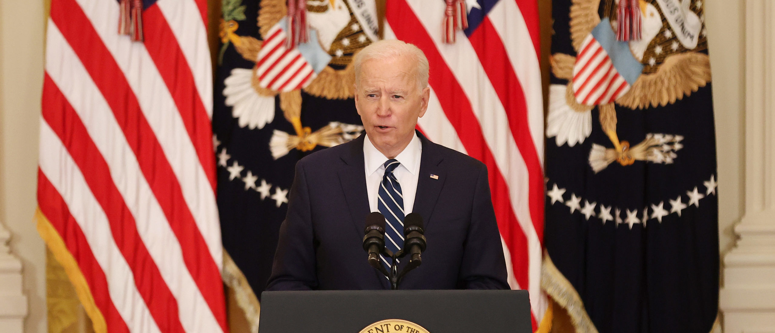 U.S. President Joe Biden talks to reporters during the first news conference of his presidency in the East Room of the White House on March 25, 2021 in Washington, DC. On the 64th day of his administration, Biden, 78, faced questions about the coronavirus pandemic, immigration, gun control and other subjects.