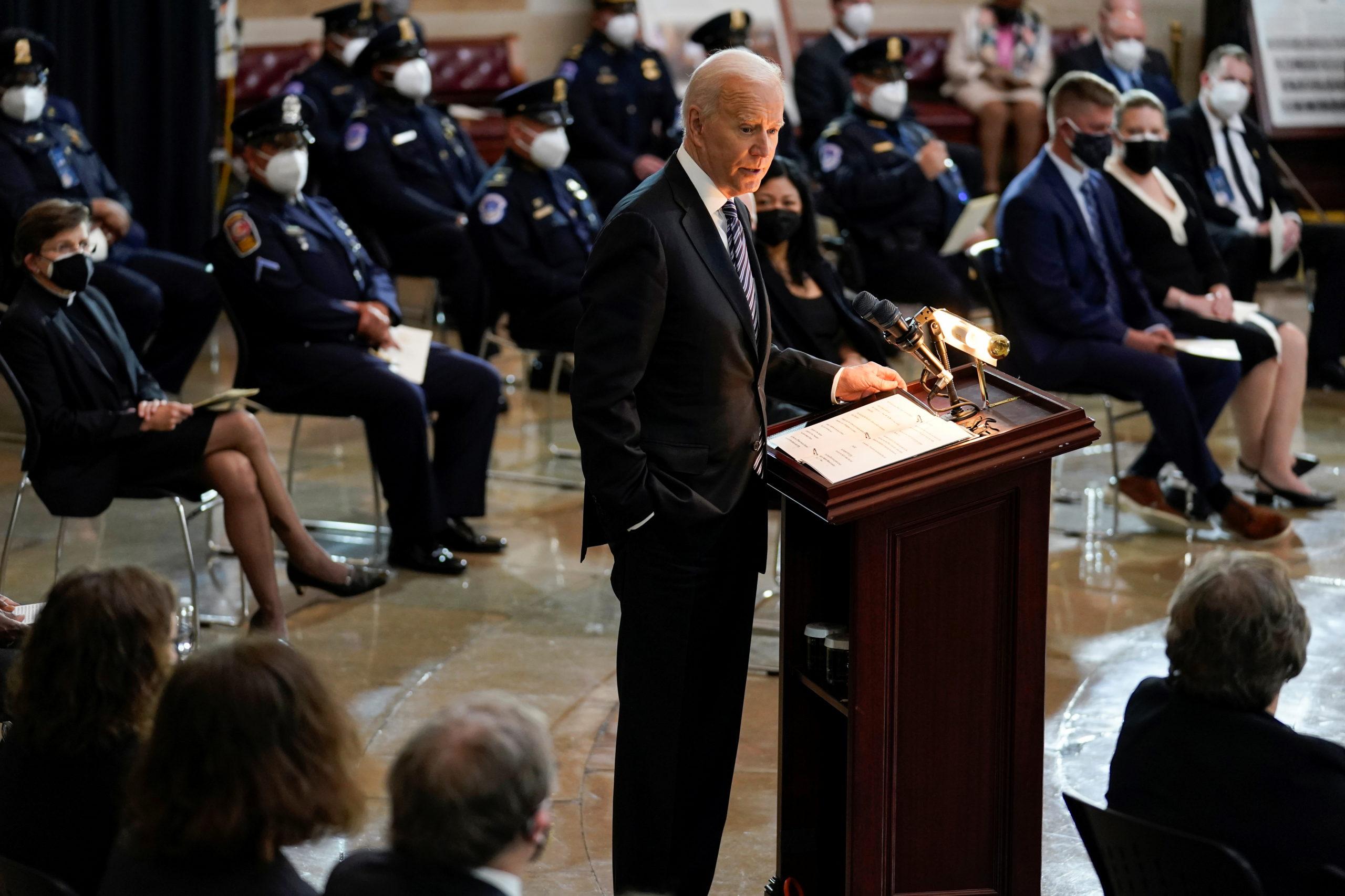 "U.S. President Joe Biden speaks during a ceremony for slain U.S. Capitol Police officer William ""Billy"" Evans as he lies in honor at the Capitol in Washington, DC, U.S., April 13, 2021. (J. Scott Applewhite/Pool via REUTERS)"
