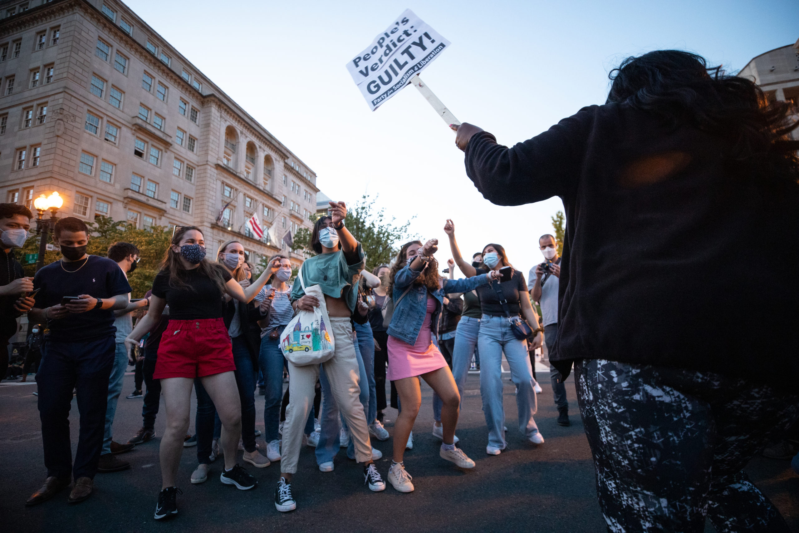 People danced into the night after the jury's decision in the Derek Chauvin trial was announced on April 20, 2021, in Washington, D.C. (Kaylee Greenlee - Daily Caller News Foundation)