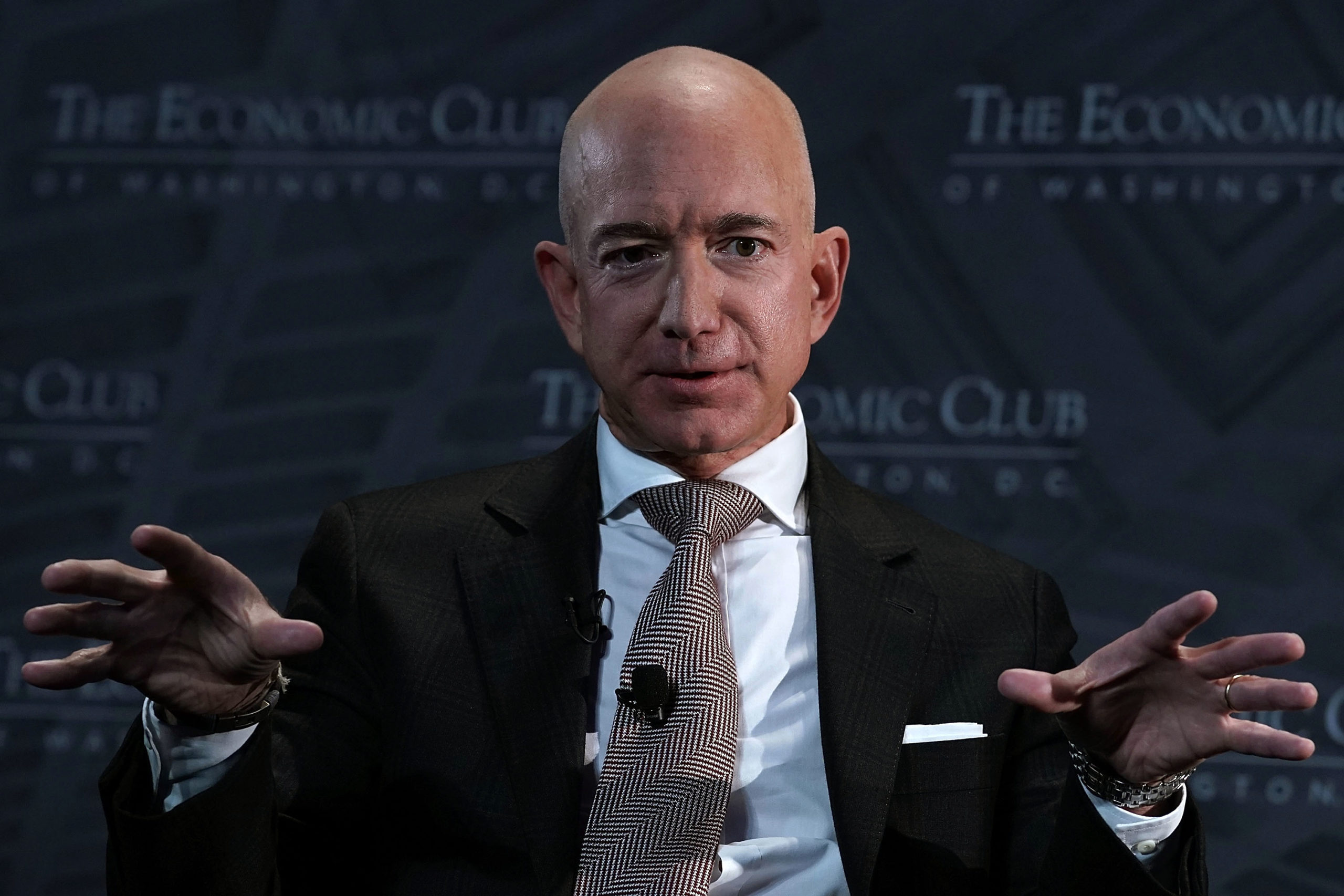 Amazon CEO and founder Jeff Bezos participates in a discussion in 2018 in Washington, D.C. (Alex Wong/Getty Images)