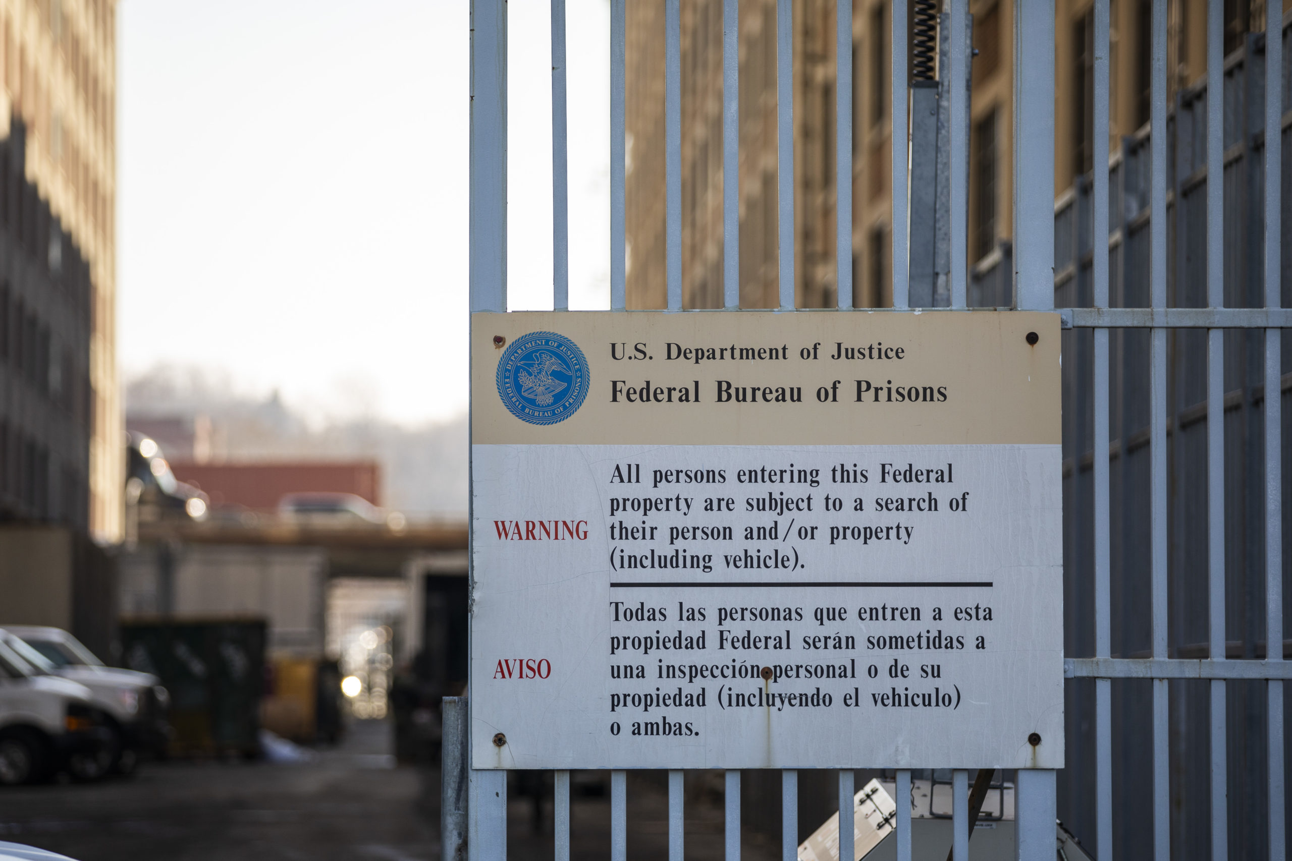 NEW YORK, NY - FEBRUARY 04: A sign is posted outside the Metropolitan Detention Center on February 4, 2019 in the Brooklyn borough of New York City. Power has been fully restored to the prison after inmates suffered the past week without heat and access to televisions, computers or telephones. On Monday morning, the facility received a bomb threat following a weekend of protests. (Photo by Drew Angerer/Getty Images)