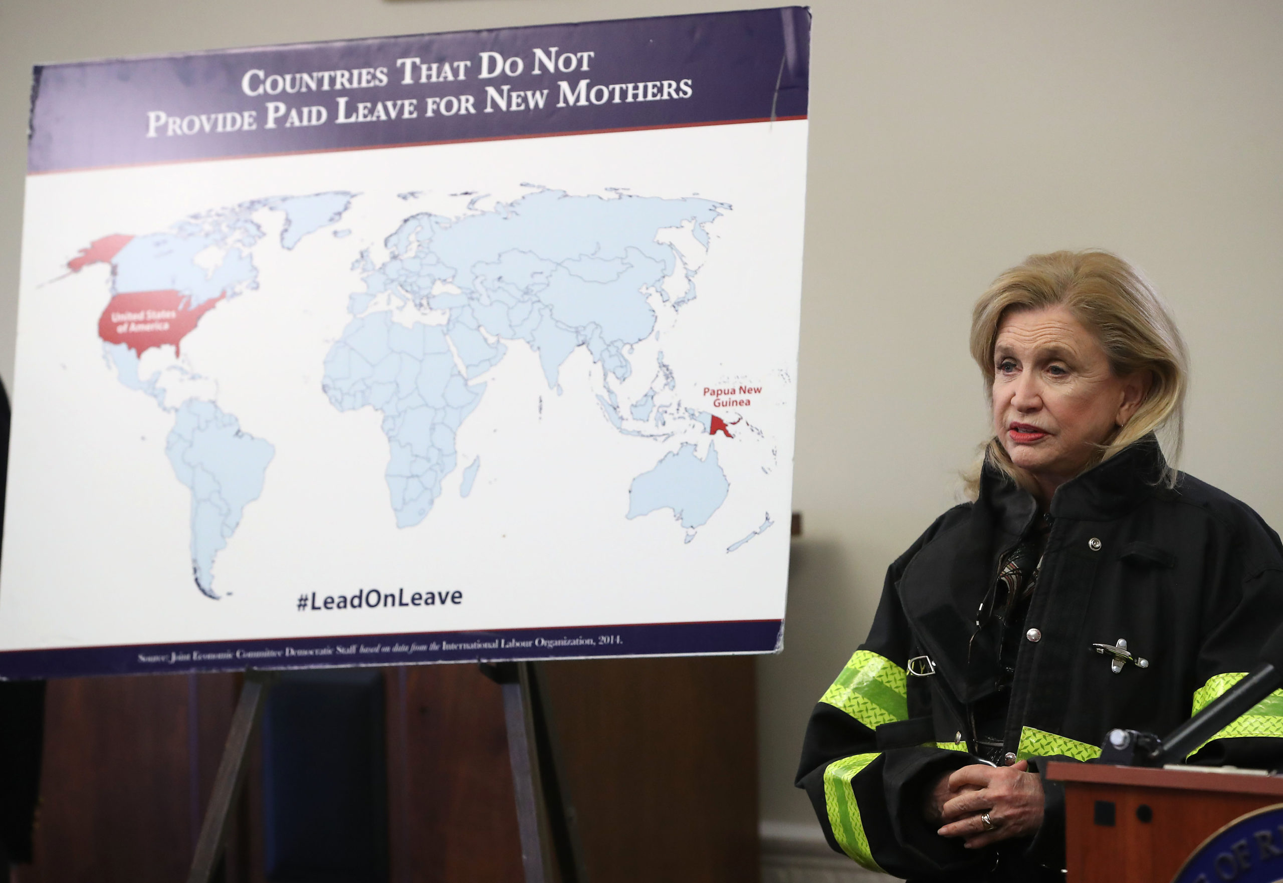 """WASHINGTON, DC - MARCH 05: Rep. Carolyn Maloney (D-NY) participates in a news conference to discuss the introduction of """"The Federal Employee Paid Leave Act"""" during a news conference on Capitol Hill, on March 5, 2019 in Washington, DC. The FEPLA act would provide 12 weeks of paid family leave for federal employees. (Photo by Mark Wilson/Getty Images)"""