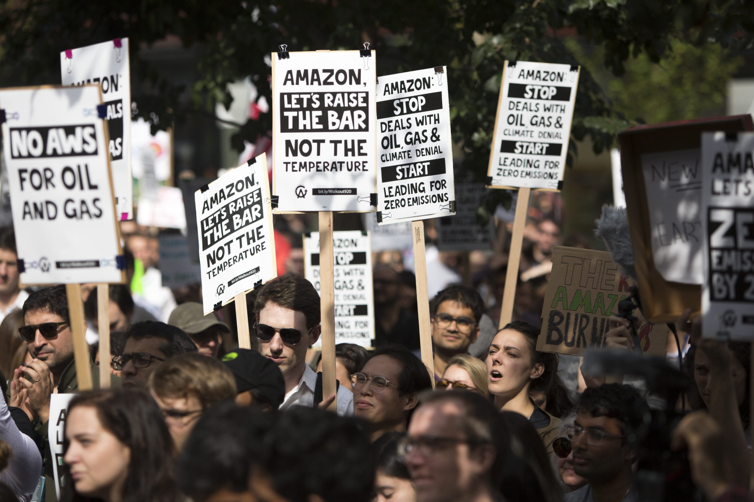 Amazon Employees for Climate Justice lead a walk out and rally at the company's headquarters in Seattle, Washington on Sept. 20, 2019. (Jason Redmond/AFP via Getty Images)