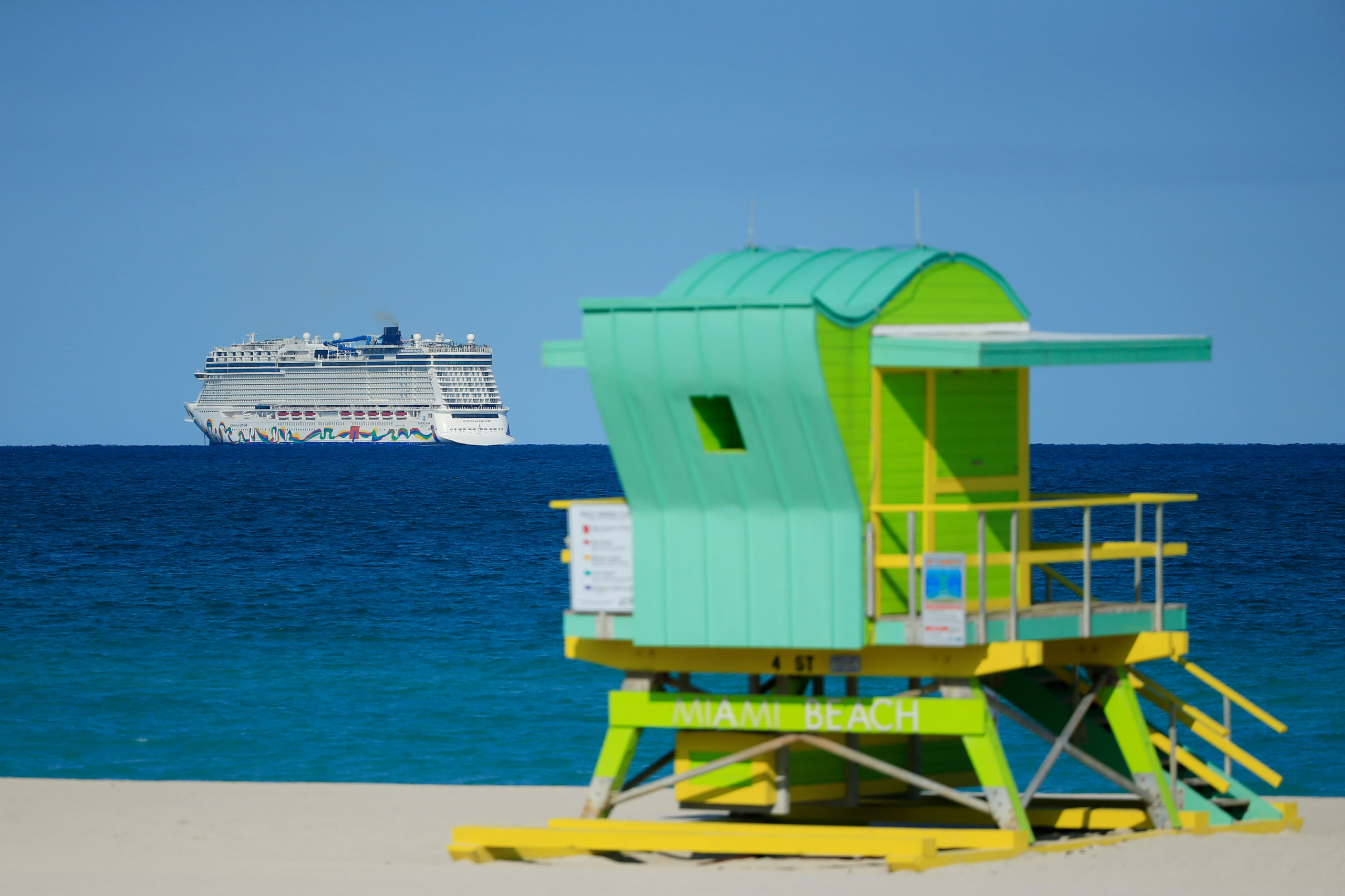 The Norwegian Encore cruise ship pictured last year in Miami Beach, Florida. (Cliff Hawkins/Getty Images)