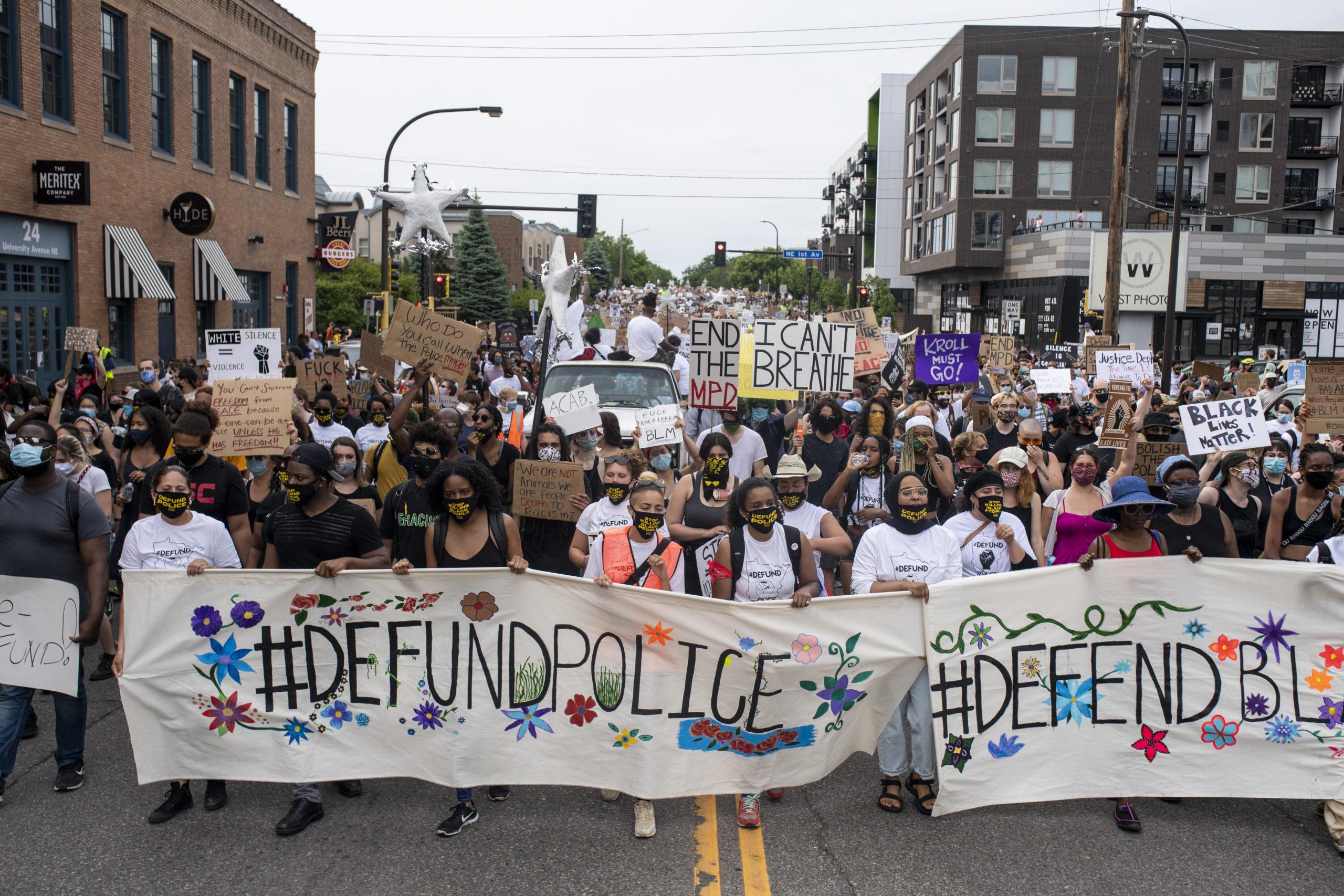 Demonstrators march on June 6, 2020 in Minneapolis, Minnesota. (Stephen Maturen/Getty Images)