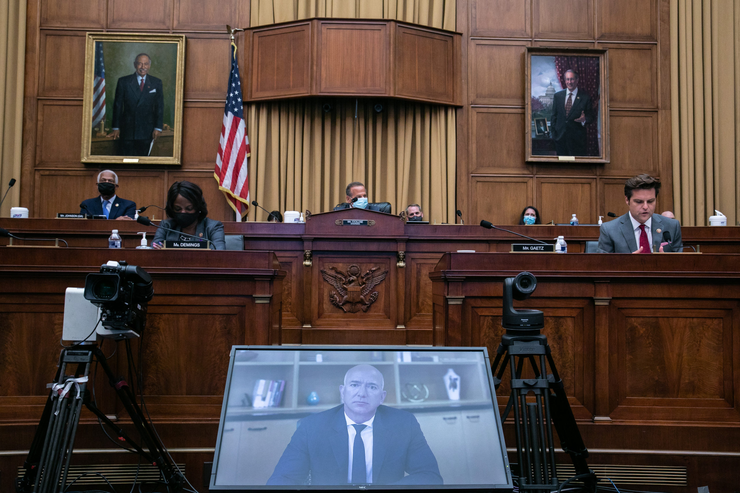 Amazon CEO Jeff Bezos testifies via video conference during the House Judiciary Subcommittee on Antitrust, Commercial and Administrative Law hearing on Online Platforms and Market Power on July 29. (Graeme Jennings/Pool/Getty Images)