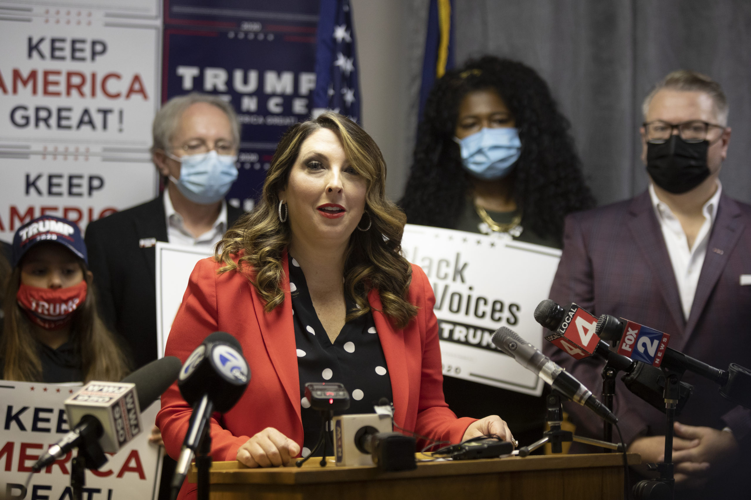 BLOOMFIELD HILLS, MI - NOVEMBER 06: Republican National Committee Chairwoman Ronna McDaniel speaks during the Trump Victory press conference on November 6, 2020 in Bloomfield Hills, Michigan. McDaniel spoke about the status of the election and intentions of pursuing allegations of ballot mishandling in Michigan and across the country. (Photo by Elaine Cromie/Getty Images)