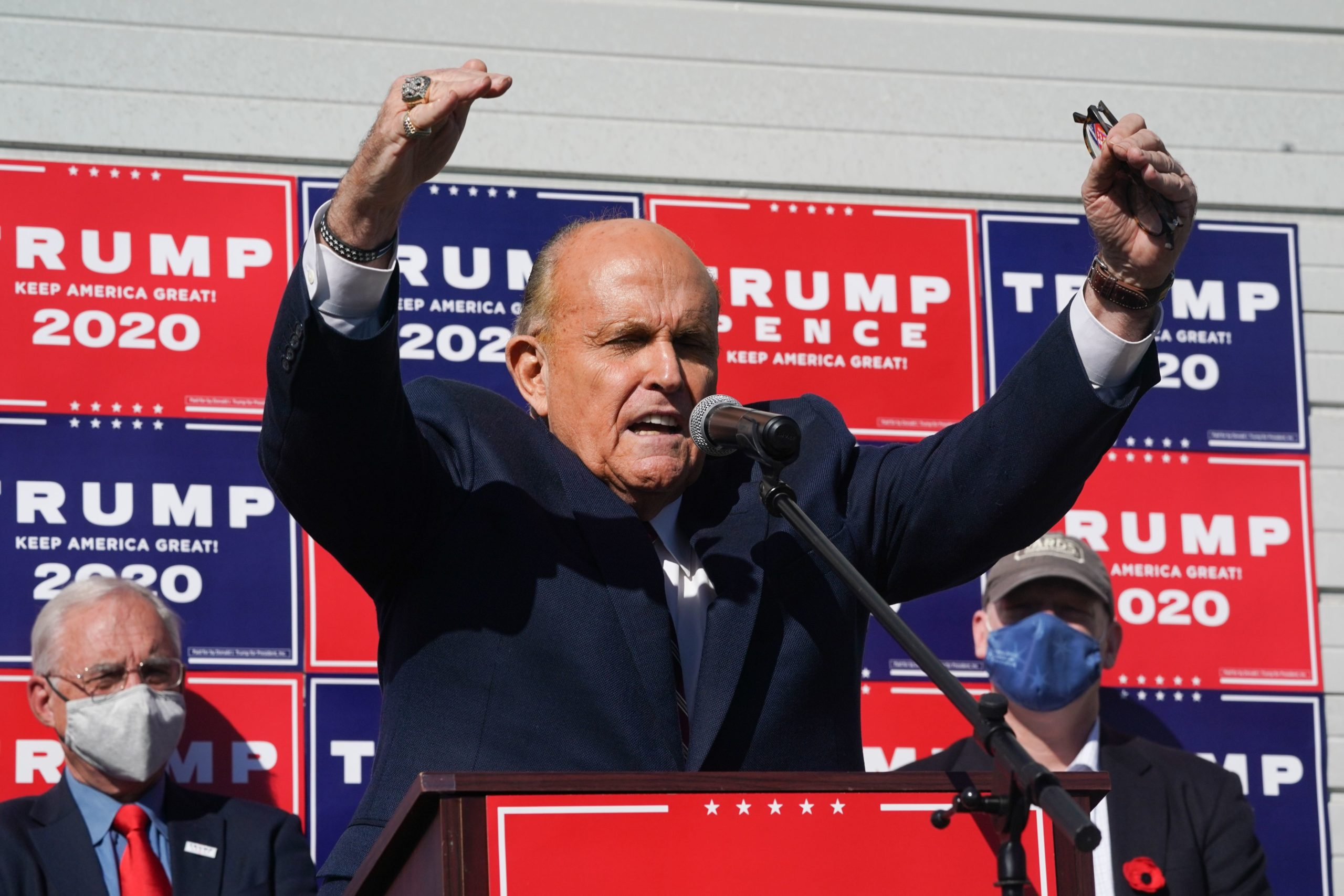 Attorney for the President, Rudy Giuliani, speaks at a news conference in the parking lot of a landscaping company on November 7, 2020 in Philadelphia. - Joe Biden has won the US presidency over Donald Trump, TV networks projected on November 7, 2020. CNN, NBC News and CBS News called the race in his favor, after projecting he had won the decisive state of Pennsylvania. (Photo by BRYAN R. SMITH/AFP via Getty Images)