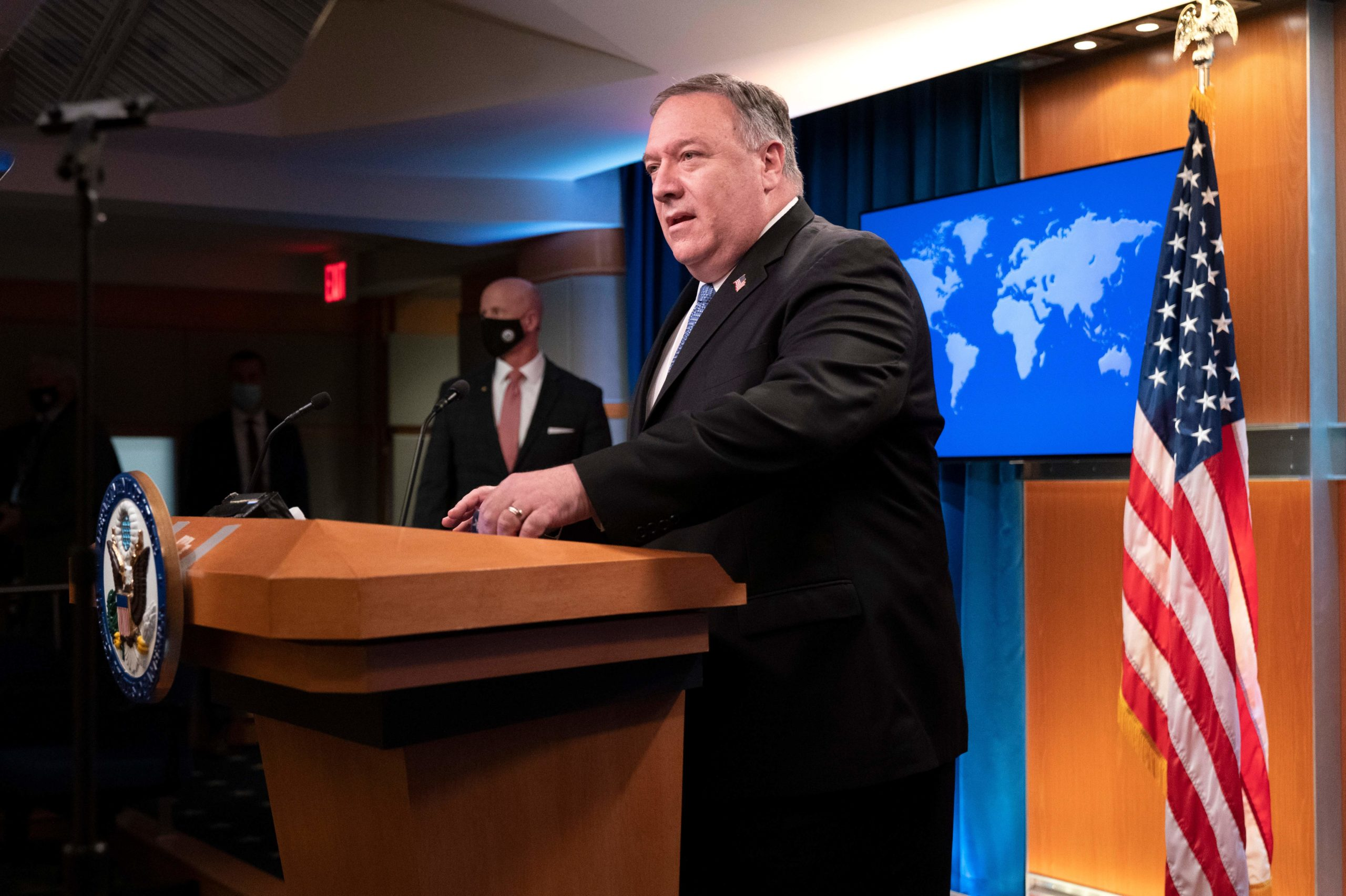 US Secretary of State Mike Pompeo speaks during a media briefing, on November 10, 2020, at the State Department in Washington,DC. (JACQUELYN MARTIN/POOL/AFP via Getty Images)