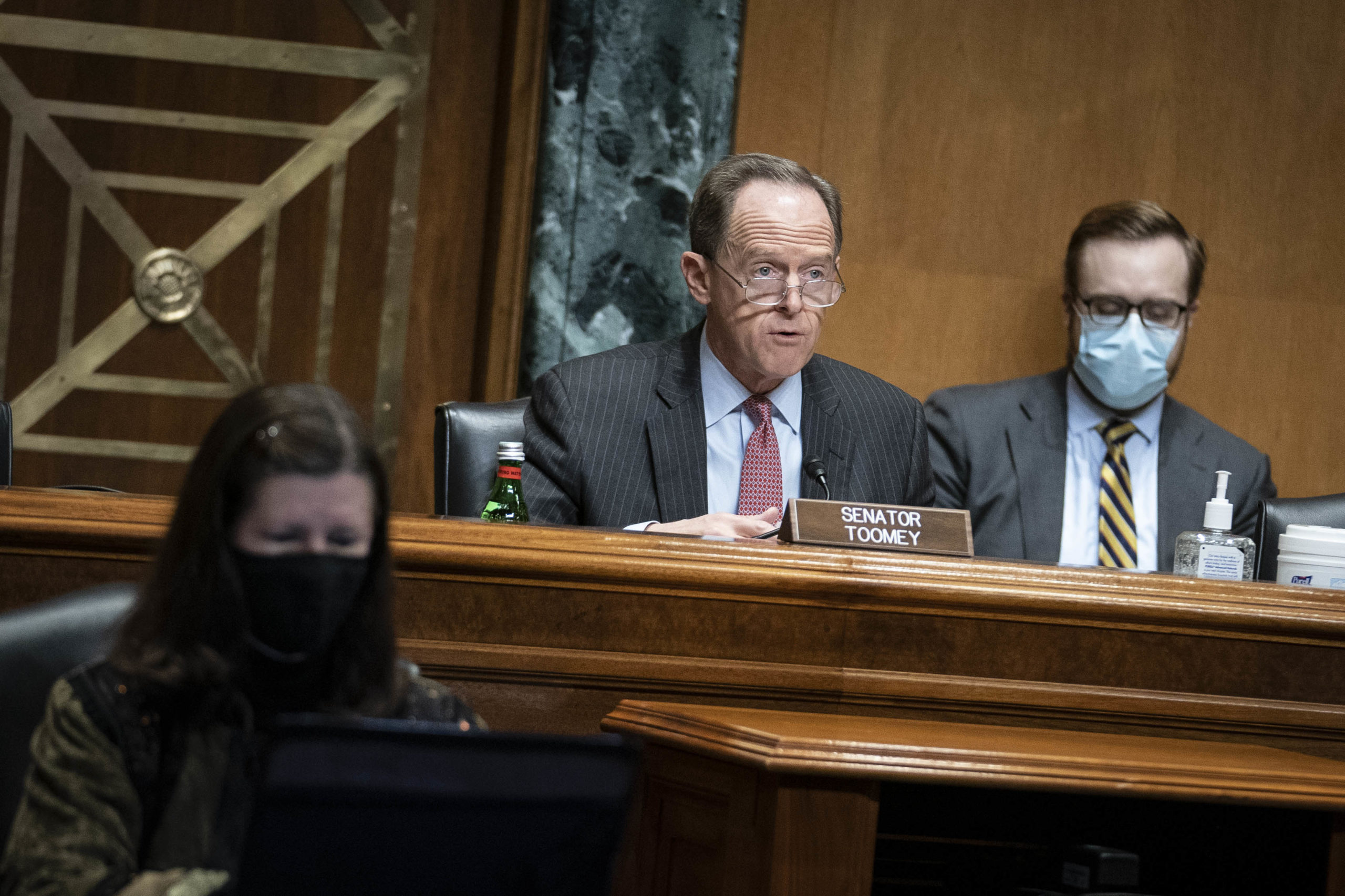 Sen. Pat Toomeyspeaks during a hearing on Dec. 10. (Sarah Silbiger/Pool/Getty Images)