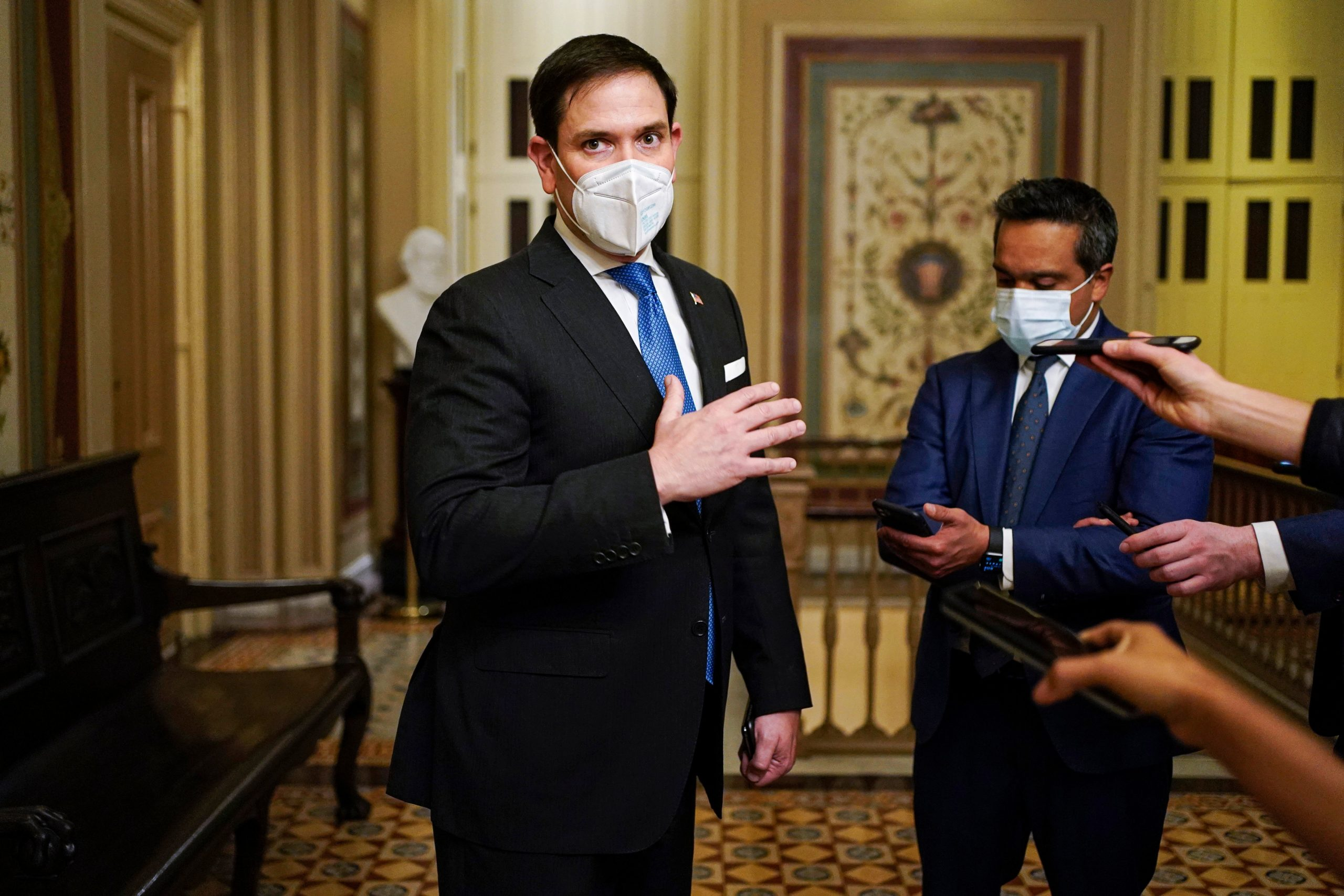 Senator Marco Rubio speaks to the press in February. (Joshua Roberts/Pool/AFP via Getty Images)
