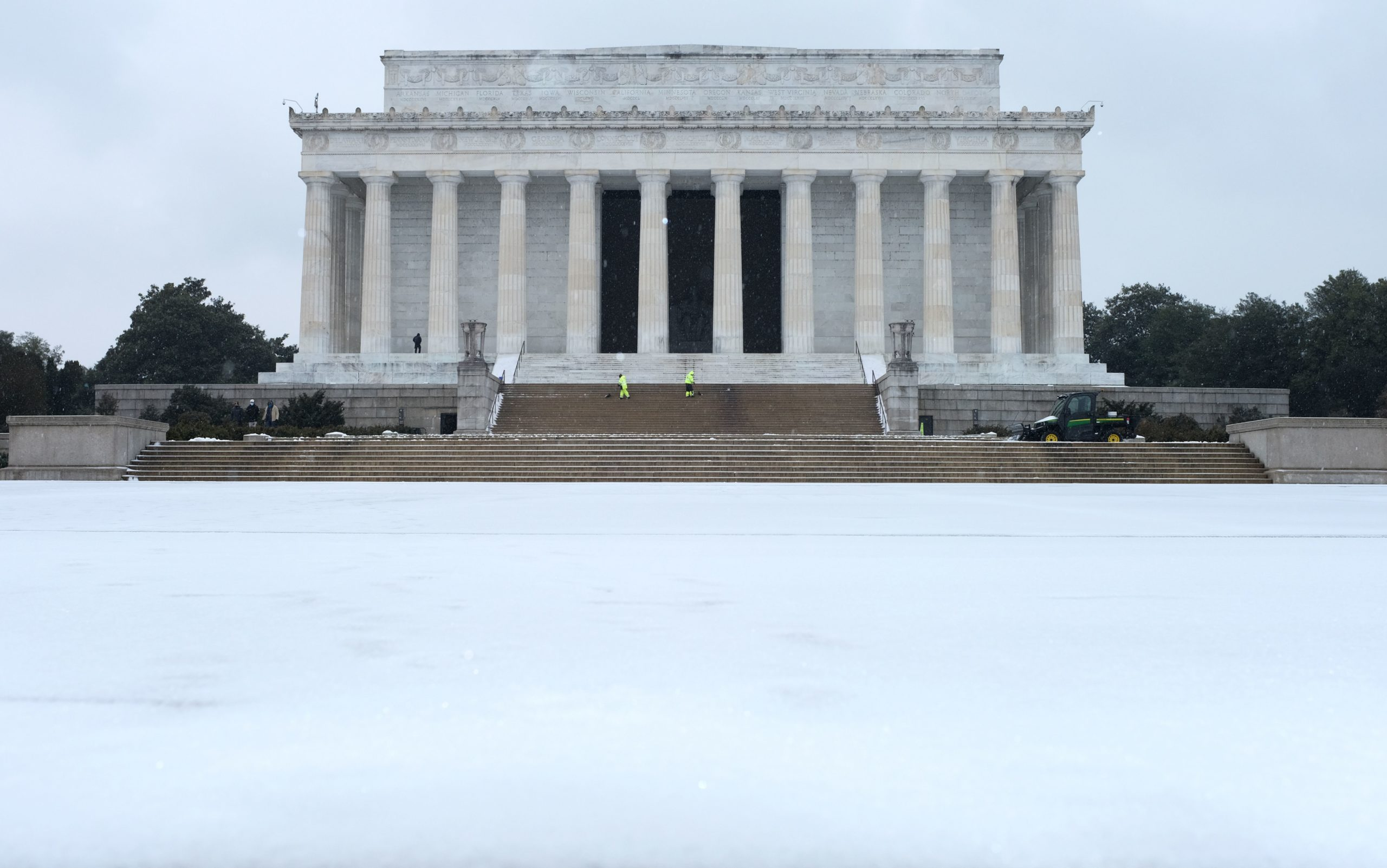 The Lincoln Memorial is seen under a blanket of light snow in Washington, DC on February 18, 2021. (Mandel Ngan/AFP via Getty Images)