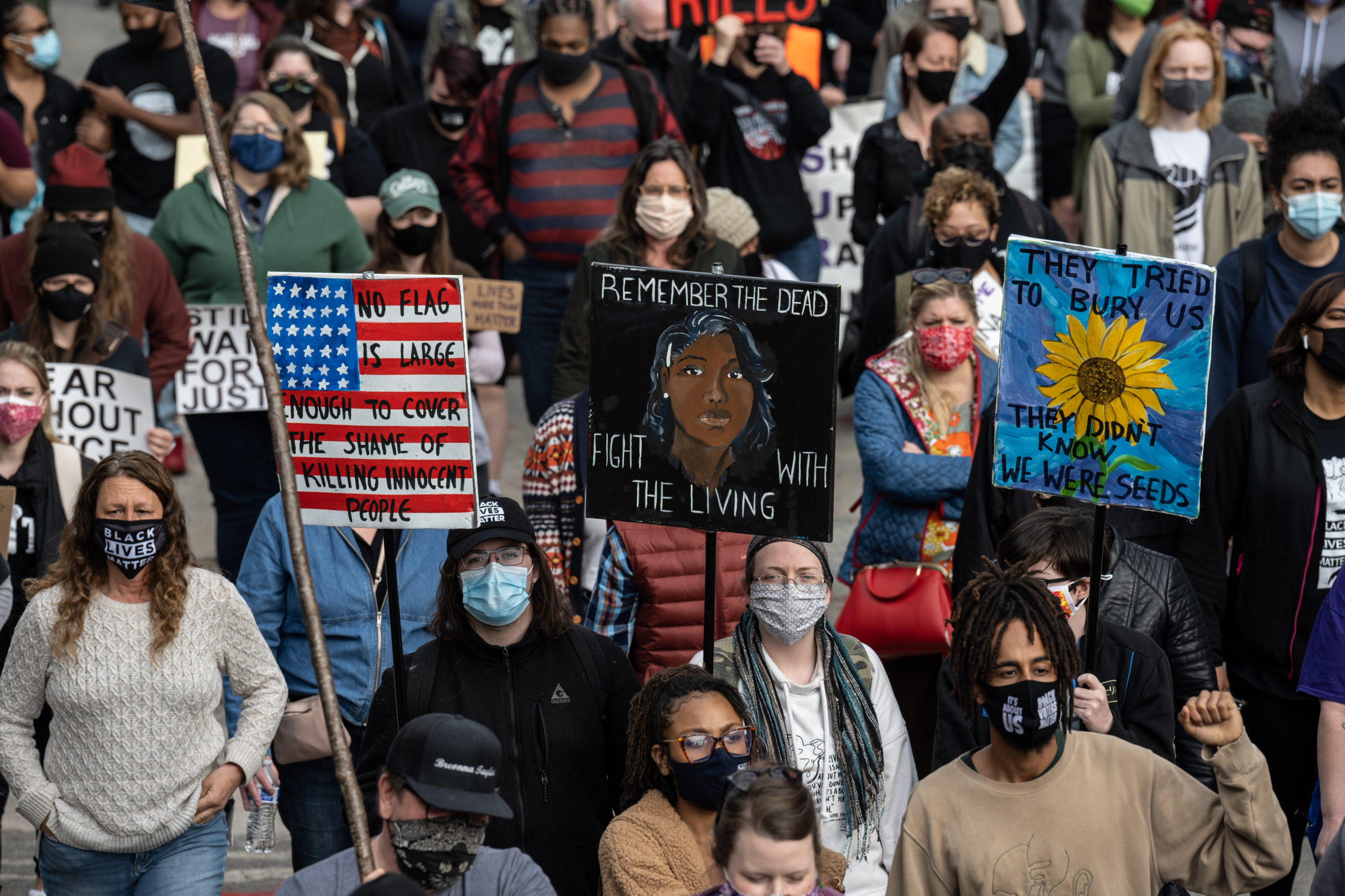 A crowd of protesters and activists on March 13 in Louisville, Kentucky. (Jon Cherry/Getty Images)