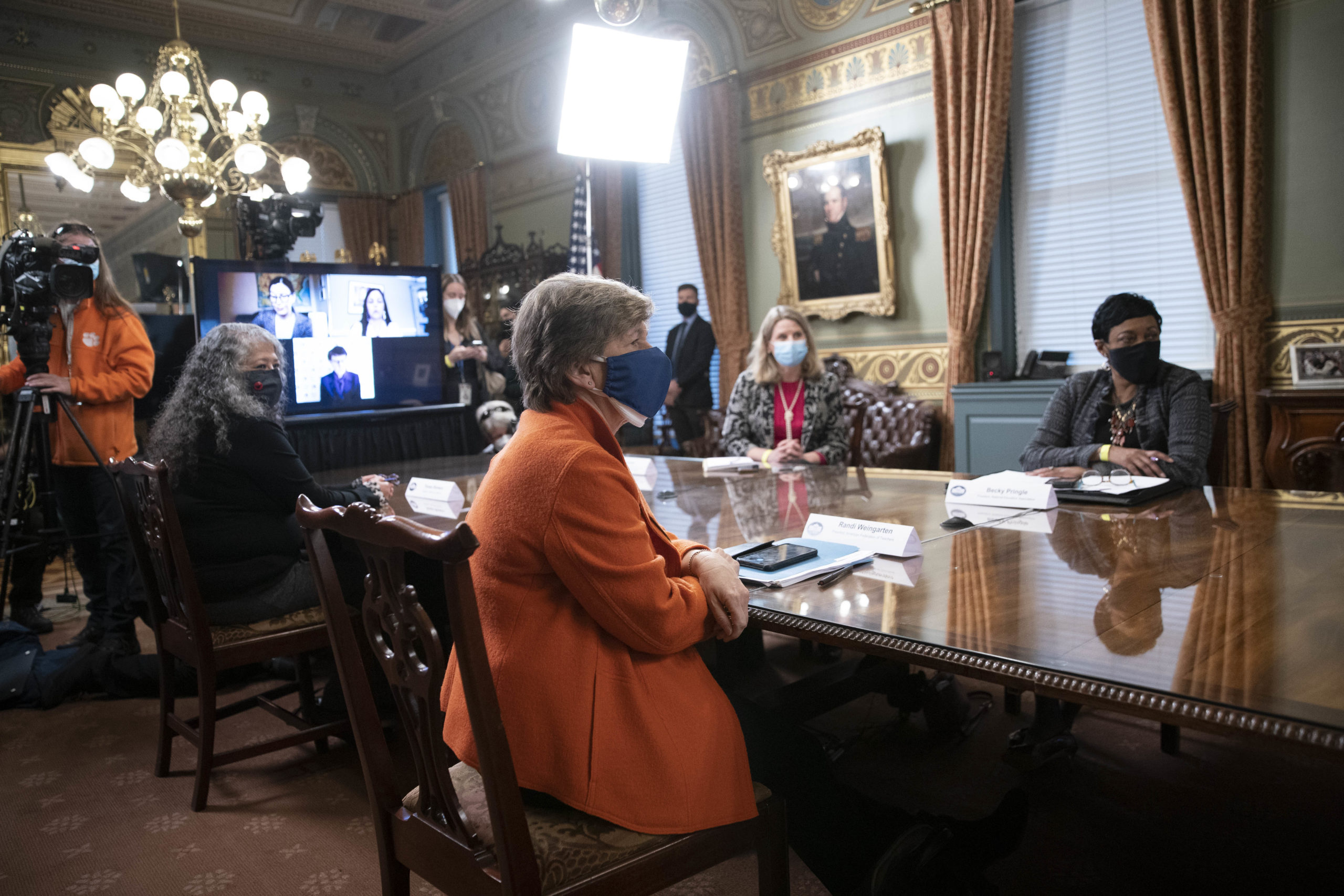 Randi Weingarten, president of the American Federation of Teachers, listens as Vice President Kamala Harris leads a meeting with female labor leaders on March 18 in Washington, D.C. (Sarah Silbiger/Getty Images)