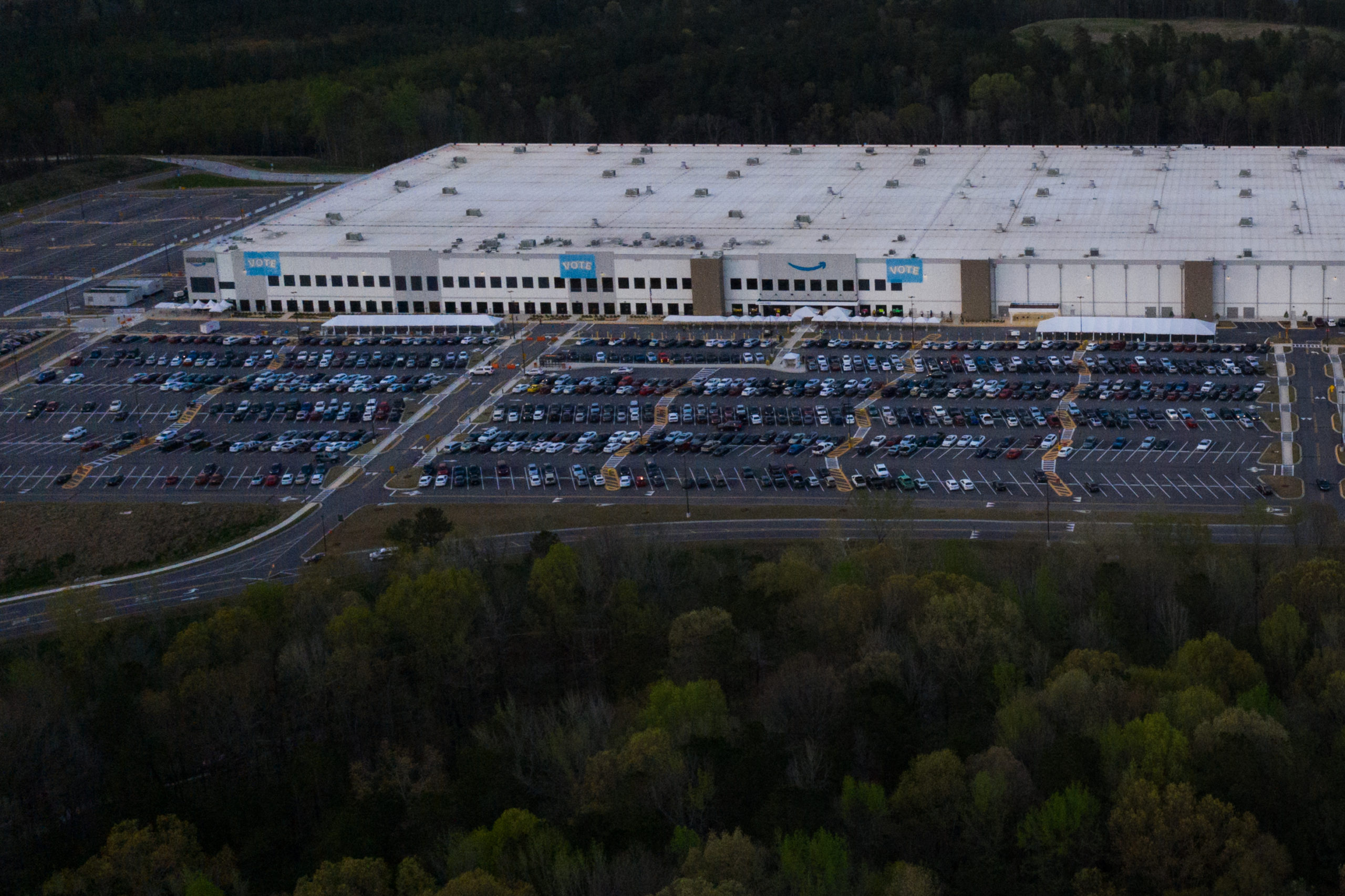 The Amazon fulfillment warehouse in Bessemer, Alabama is seen on March 28. (Elijah Nouvelage/Getty Images)