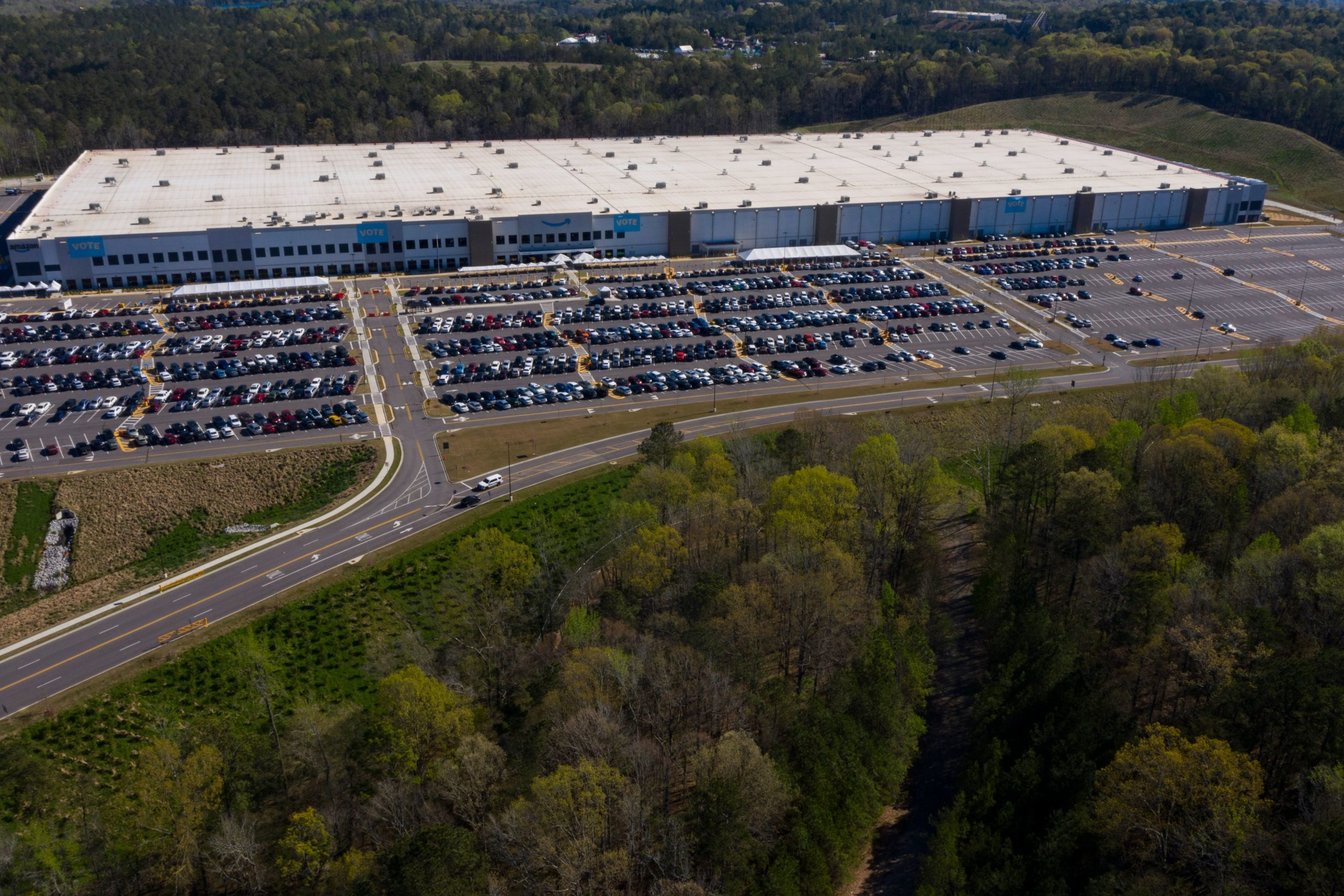 An aerial image shows the Amazon fulfillment center in Bessemer, Alabama on March 29. (Patrick T. Fallon/AFP via Getty Images)