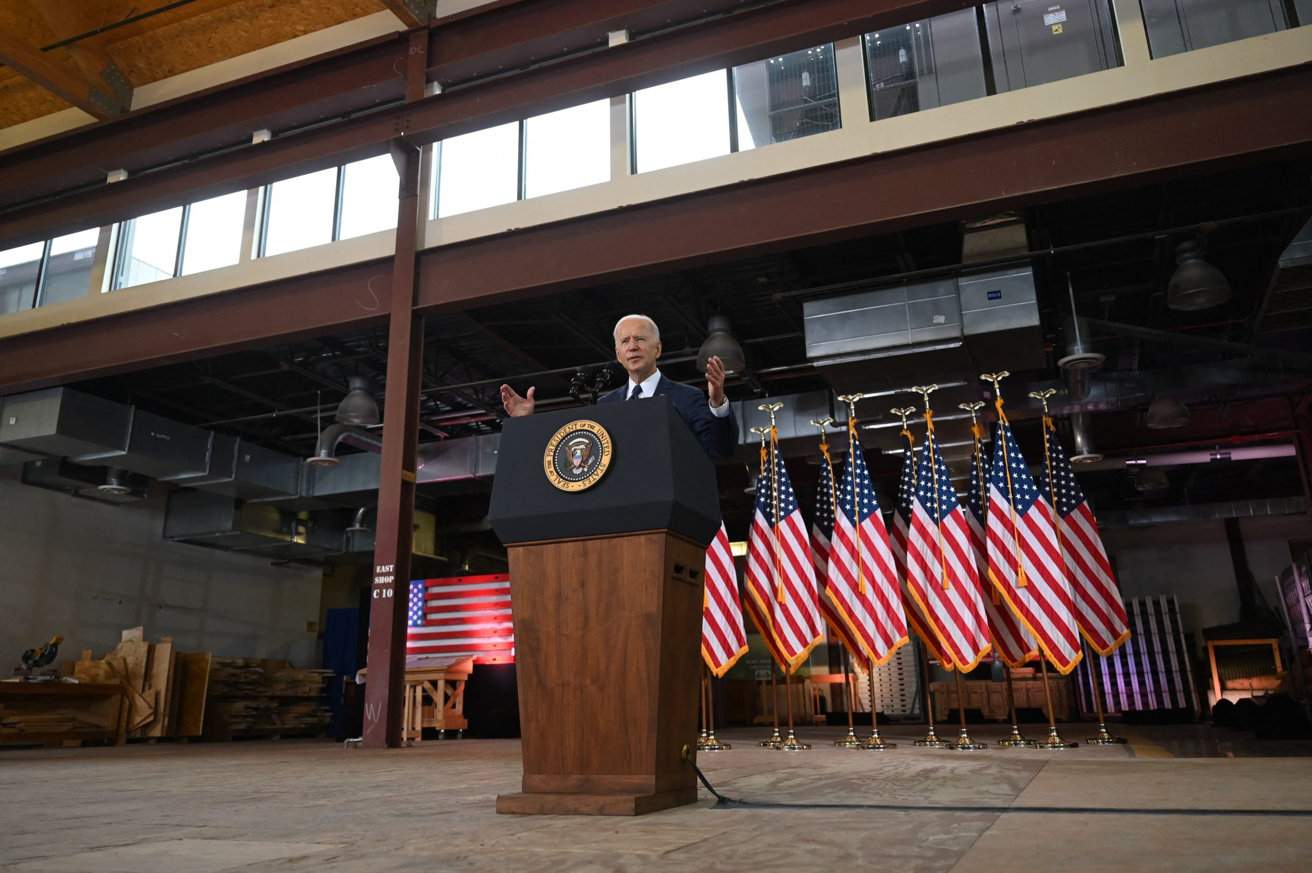 President Joe Biden announces his infrastructure plan in Pittsburgh, Pennsylvania on March 31. (Jim Watson/AFP via Getty Images)