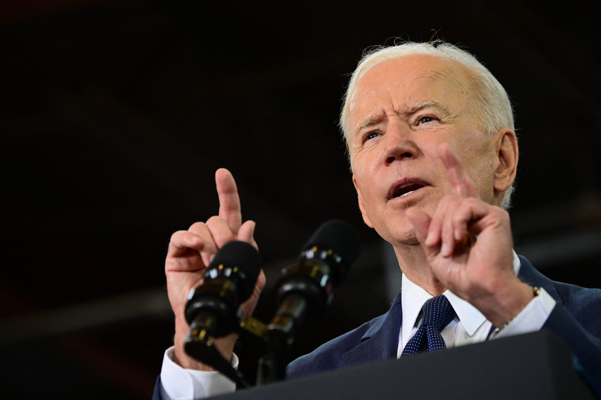 President Joe Biden announces his infrastructure plan, which involves raising the corporate tax rate to 28%, on Wednesday in Pittsburgh, Pennsylvania. (Jim Watson/AFP via Getty Images)