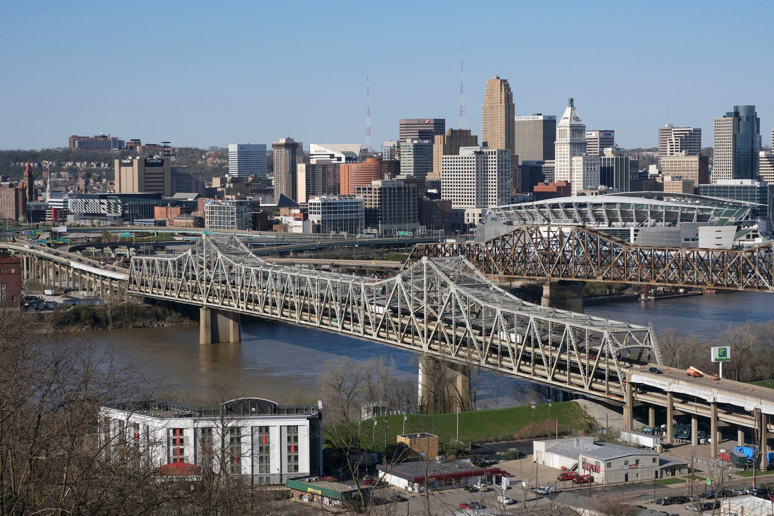 The Brent Spence Bridge spans the Ohio River on the Ohio-Kentucky border. President Biden has announced an ambitious $2 trillion infrastructure plan that would pump huge sums of money into improving the nations bridges, roads, public transportation, railways, ports and airports. (JEFF DEAN/AFP via Getty Images)