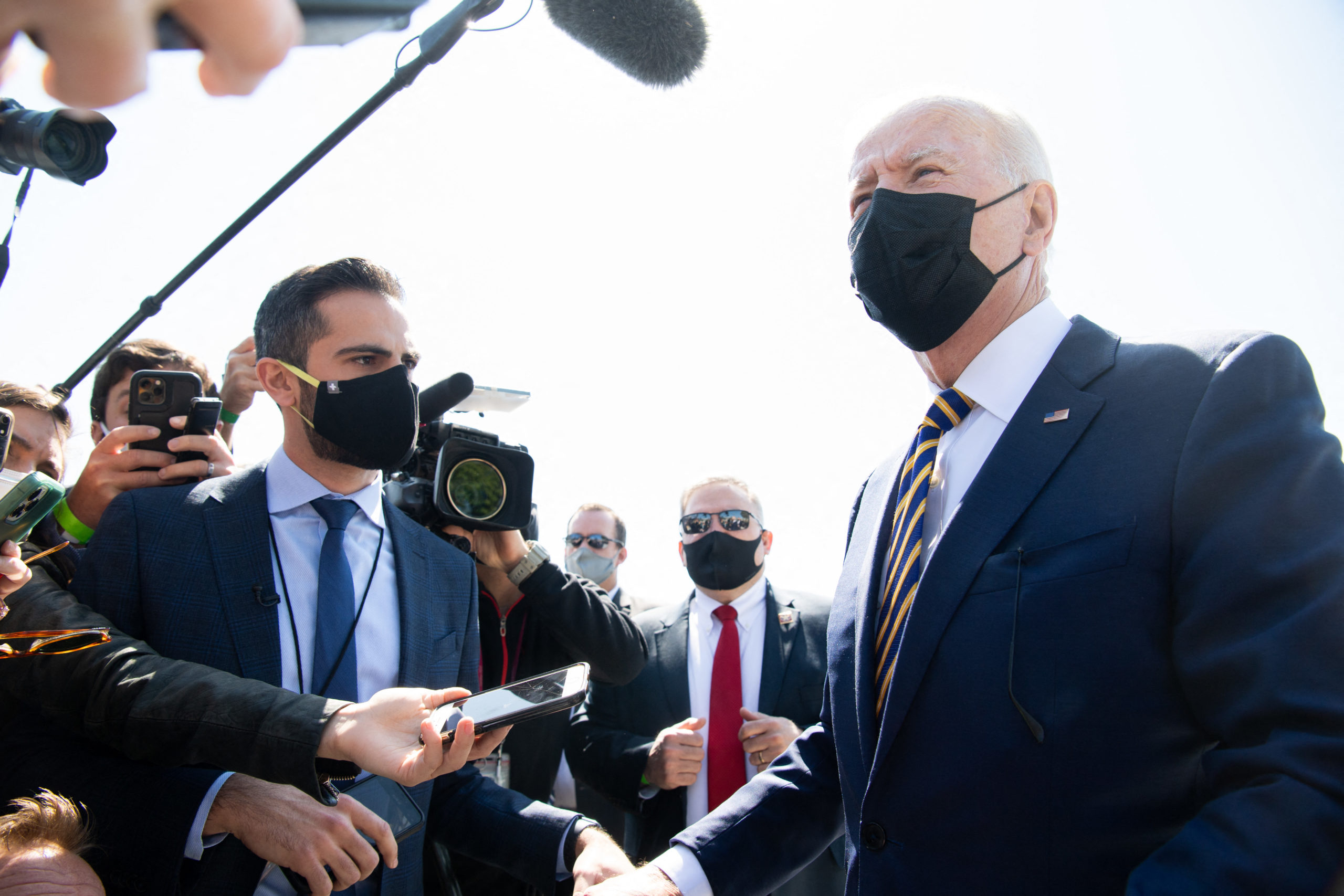 US President Joe Biden speaks to the media after arriving on Marine One at the Ellipse near the White House in Washington, DC, April 5, 2021, following a weekend trip to Camp David, the presidential retreat in Maryland. (Photo by SAUL LOEB/AFP via Getty Images)