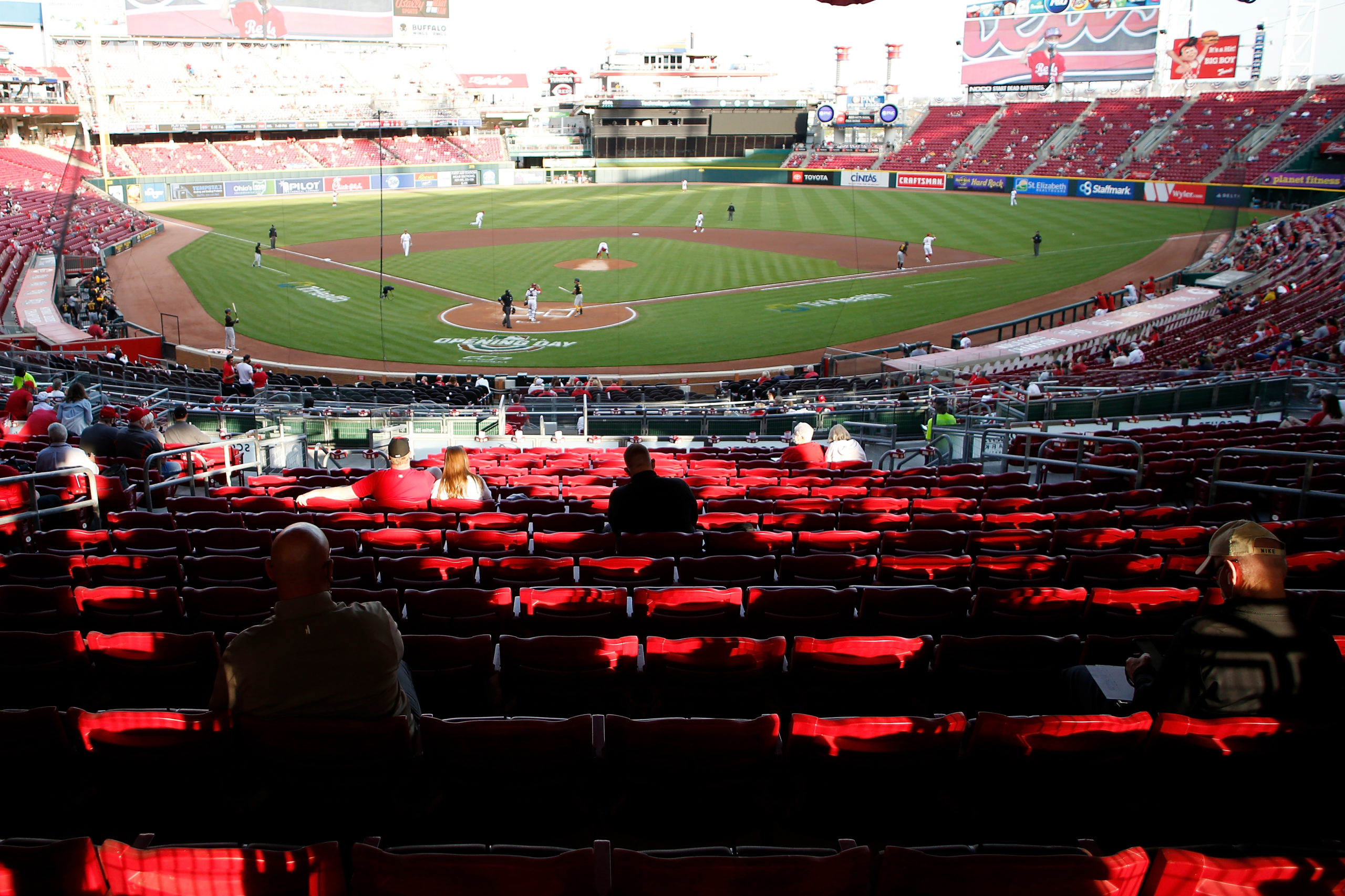 CINCINNATI, OH - APRIL 5: Fans watch the game between the Cincinnati Reds and the Pittsburgh Pirates during the first inning at Great American Ball Park on April 5, 2021 in Cincinnati, Ohio. (Photo by Kirk Irwin/Getty Images)