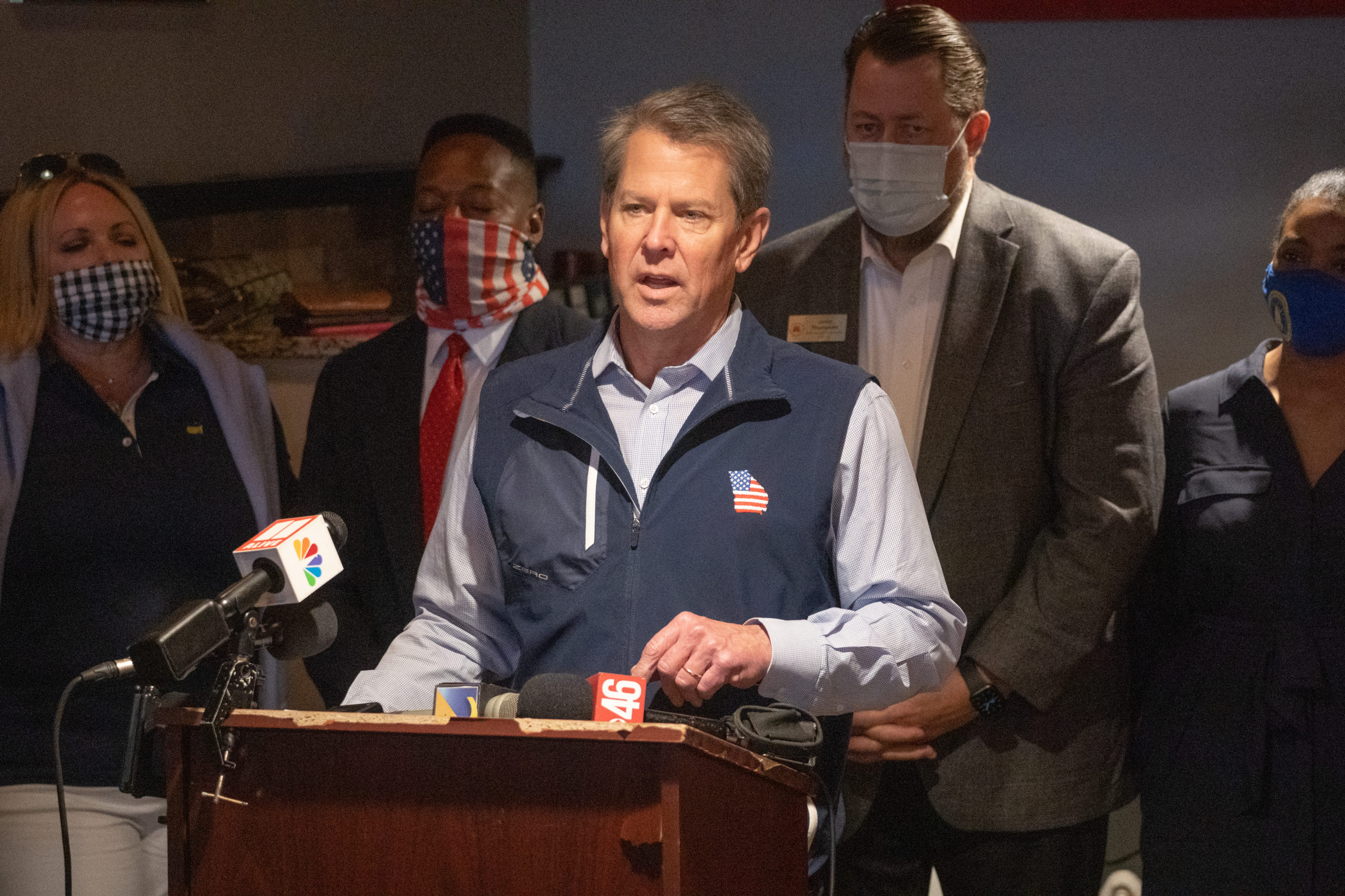 Georgia Gov. Brian Kemp speaks at a news conference about the state's new Election Integrity Law on April 10. (Megan Varner/Getty Images)